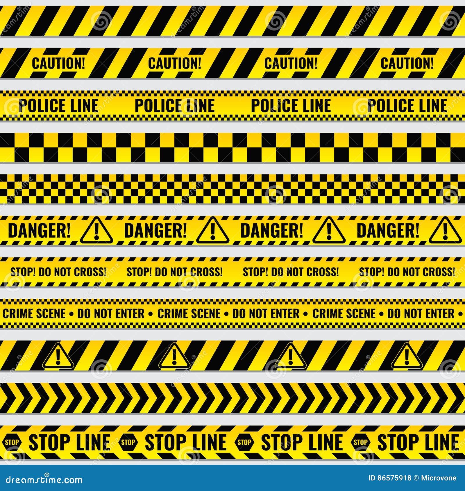 La police noire et jaune barre la frontière, construction, ensemble sans couture de vecteur de bandes de précaution de danger