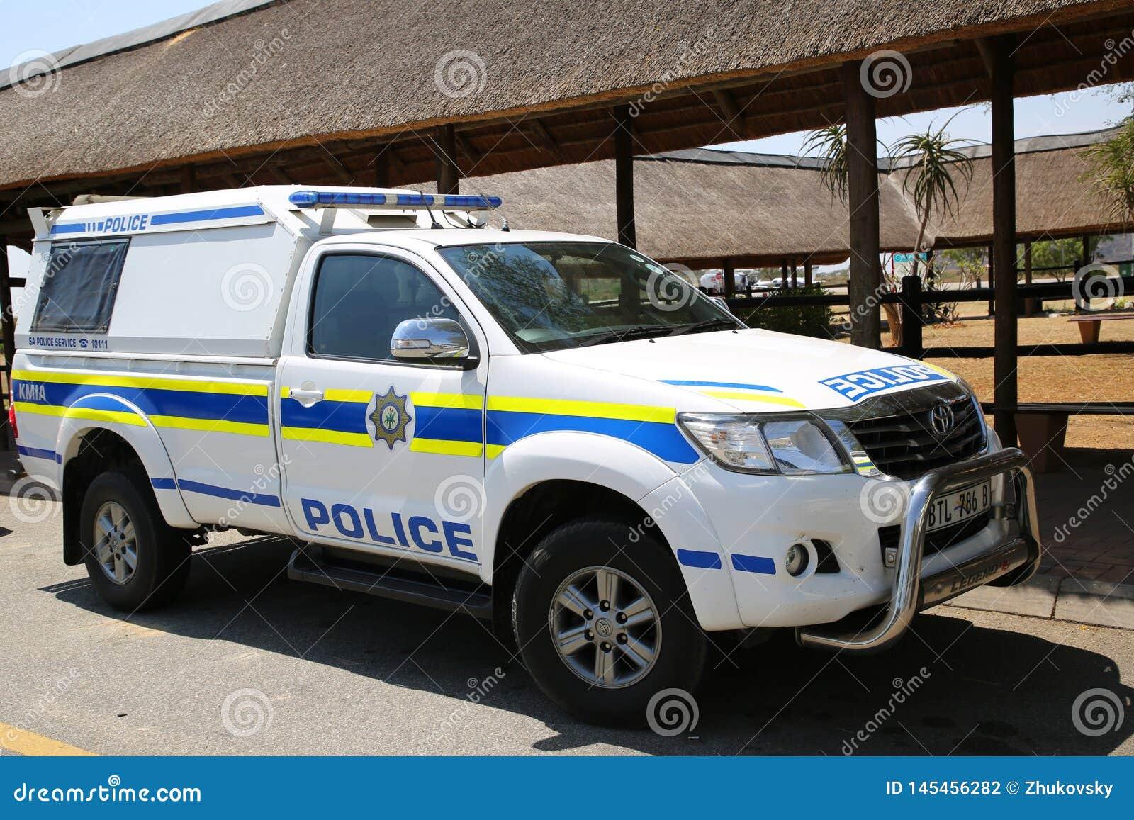 La police sud-africaine fournit la s?curit? en a?roport international de Kruger Mpumalanga, Afrique du Sud
