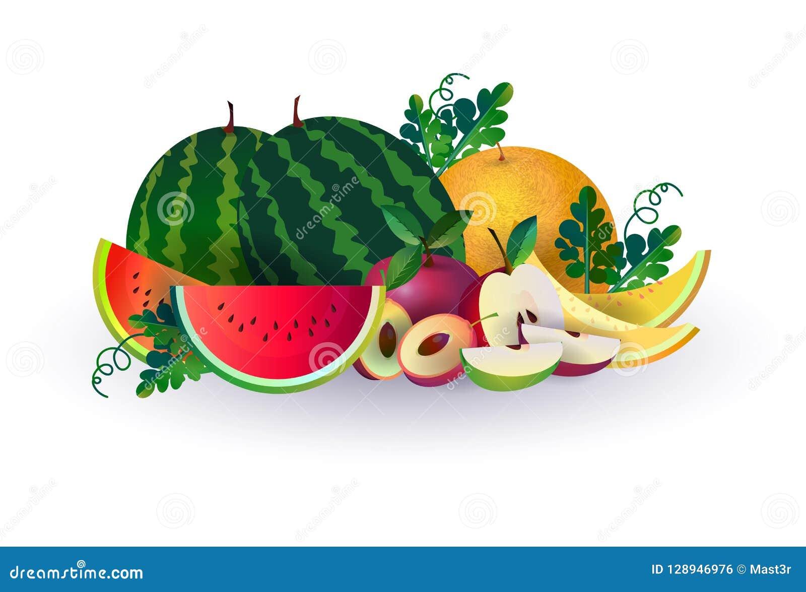 La pomme de melon de pastèque porte des fruits sur le fond blanc, le mode de vie sain ou le concept de régime, logo pour des frui