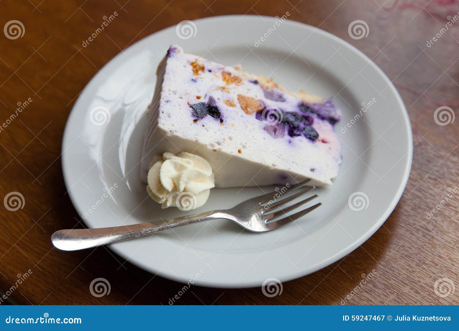 La porción de torta dulce