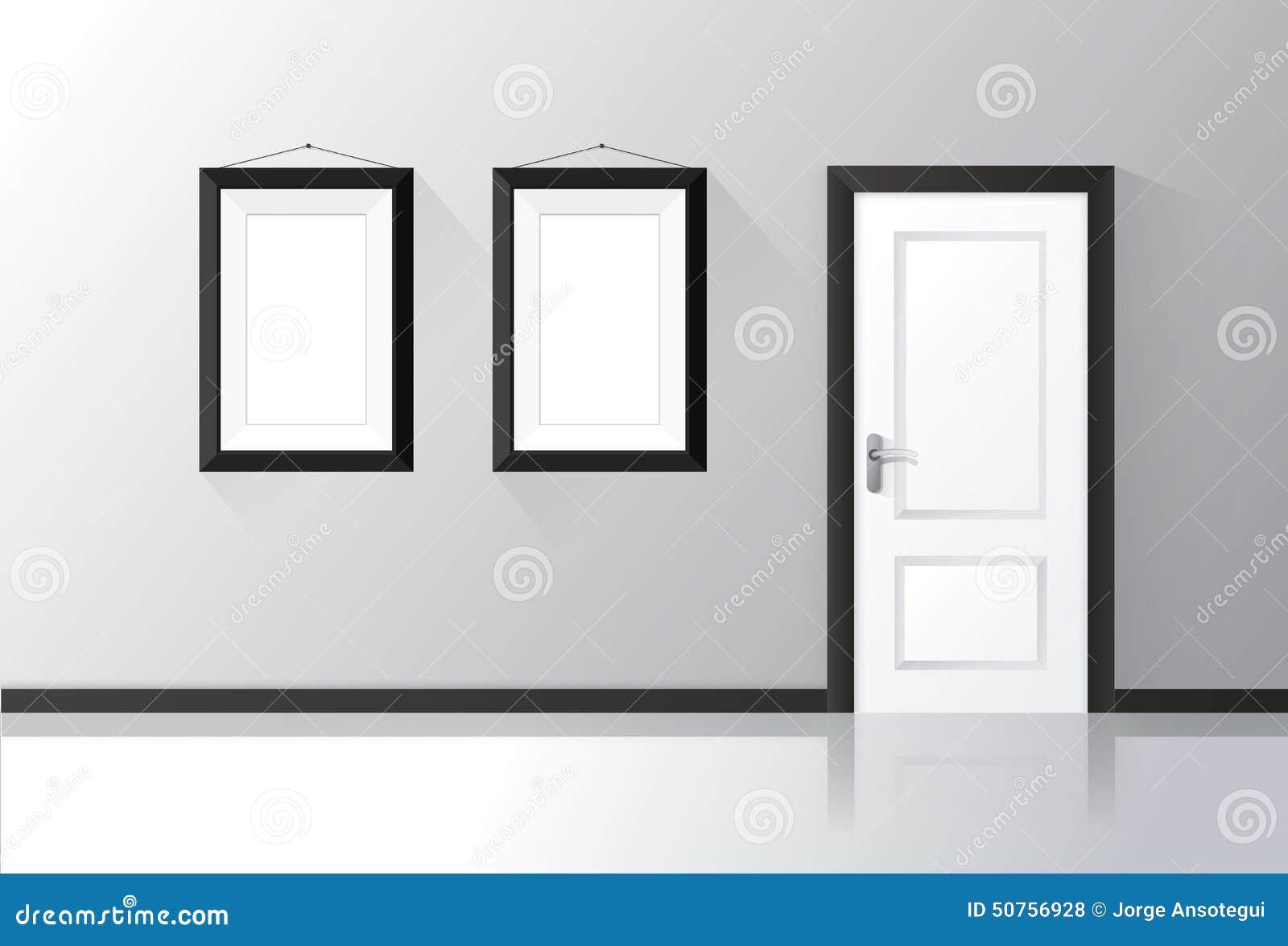 la porte blanche s 39 est ferm e sur un mur gris avec les cadres et le plancher r fl chi. Black Bedroom Furniture Sets. Home Design Ideas