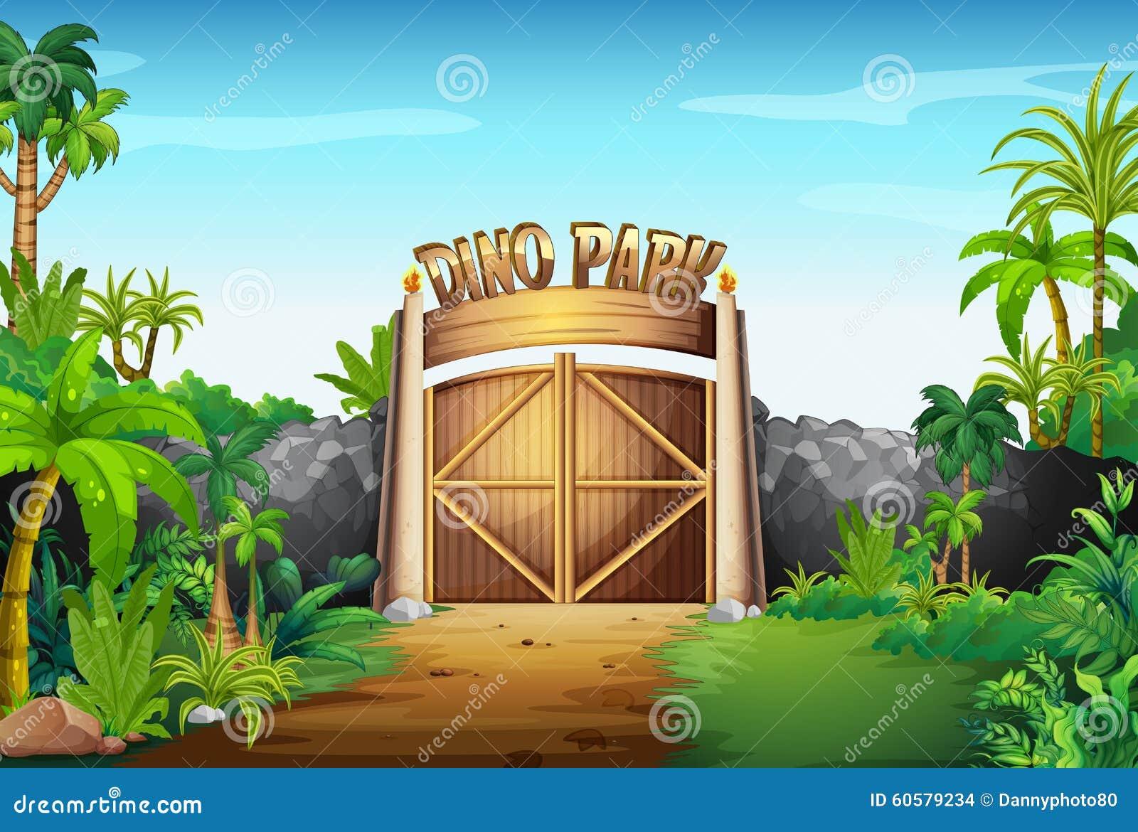 La porte du parc de dino illustration stock image 60579234 for La porte in time zone