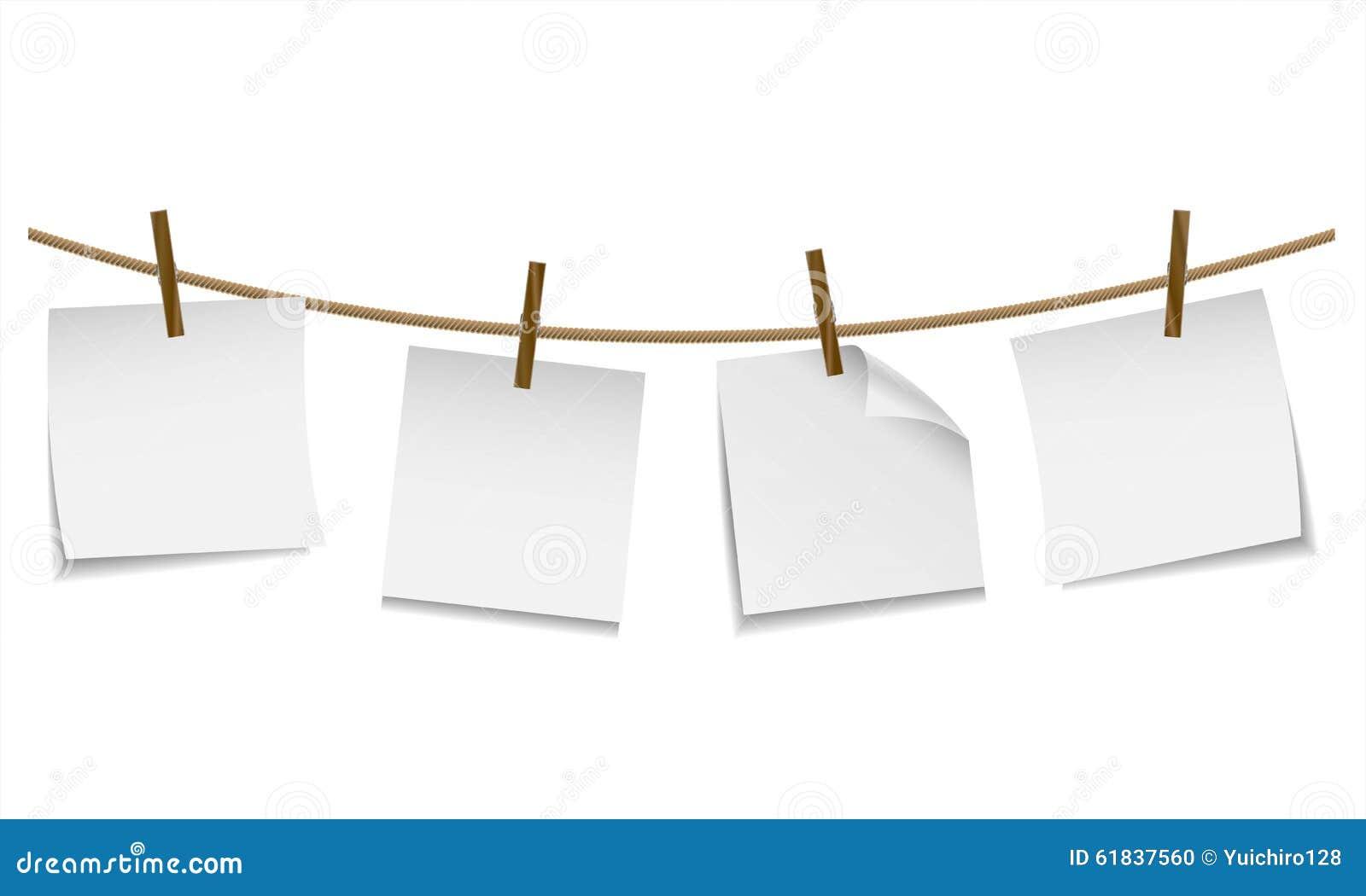 La pose de papier peint blanche vide sur la corde linge - Cadre photo avec pince linge ...