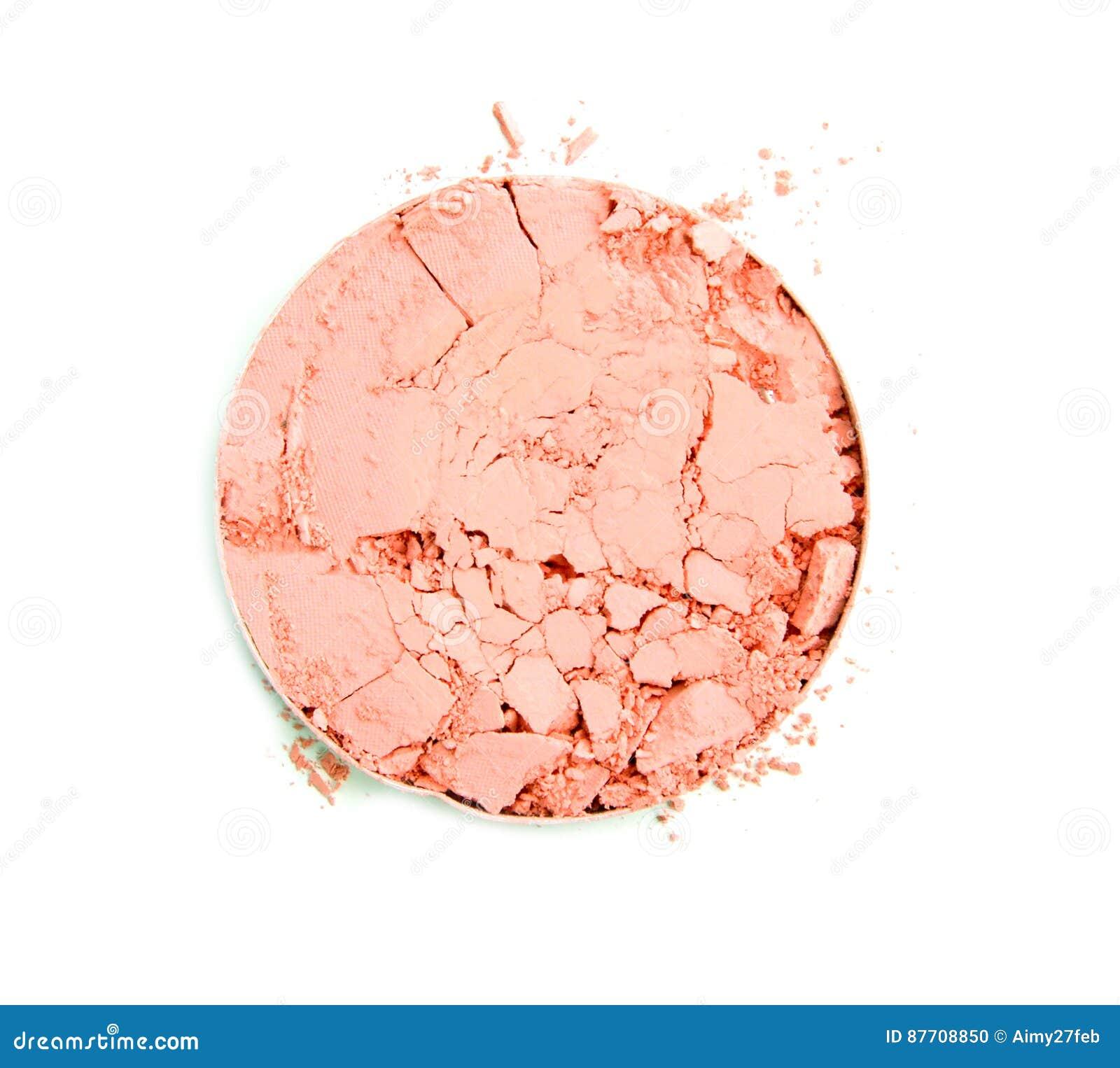 La poudre brisée rose ronde pour composent comme échantillon de produit de cosmétiques d isolement sur le fond blanc