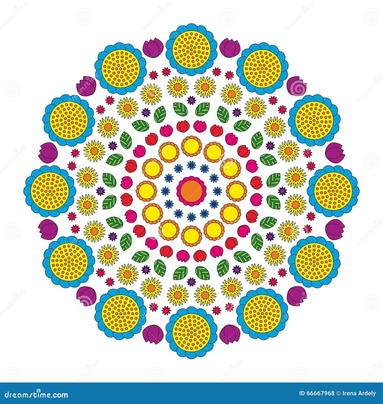 La primavera divertida de la mandala circular del modelo florece coloreado colorido - fondo floral