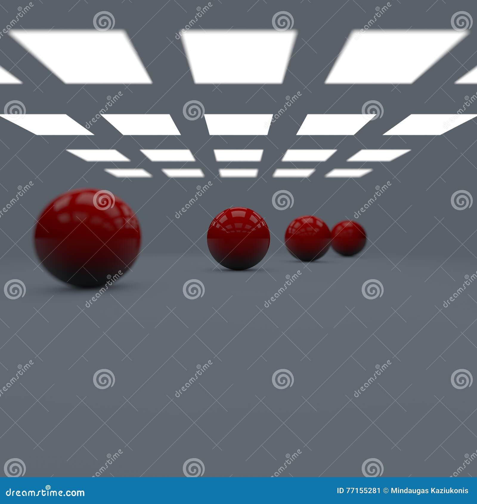 La profondeur des boules brillantes brillantes rouges du champ quatre a rayé dans la perspective dans le studio avec des lumières