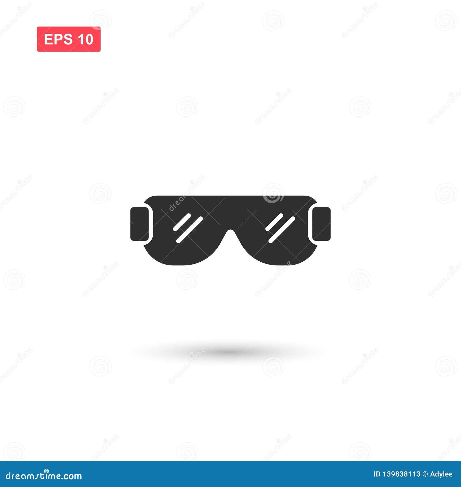 La progettazione di vettore dell icona degli occhiali di protezione ha isolato 2