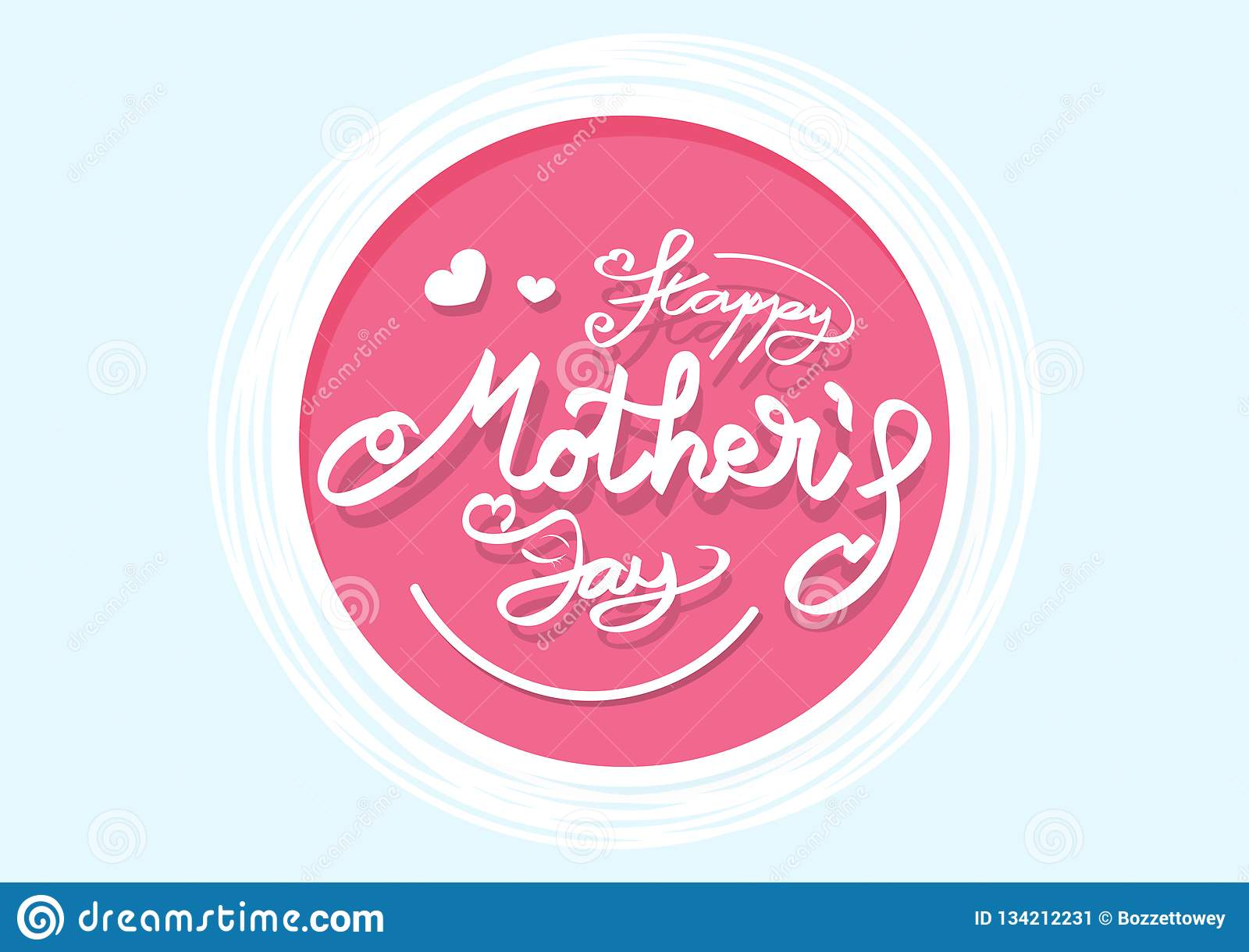 La progettazione piana di festa della mamma della carta delle insegne felici di logo, stile del nastro di calligrafia, coriandoli