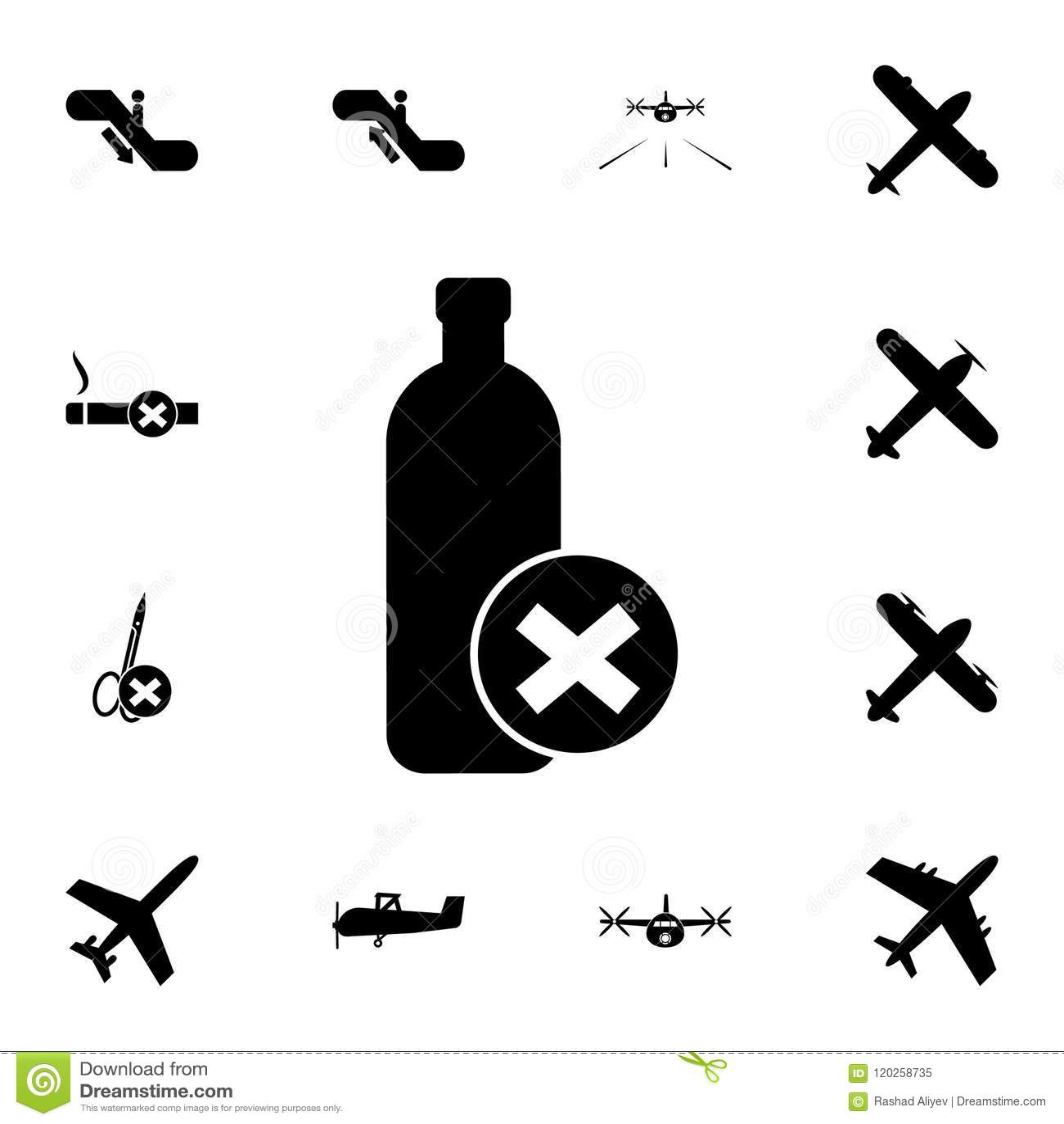 La prohibición en el transporte del icono de las botellas Sistema detallado de iconos del aeropuerto Muestra superior del diseño