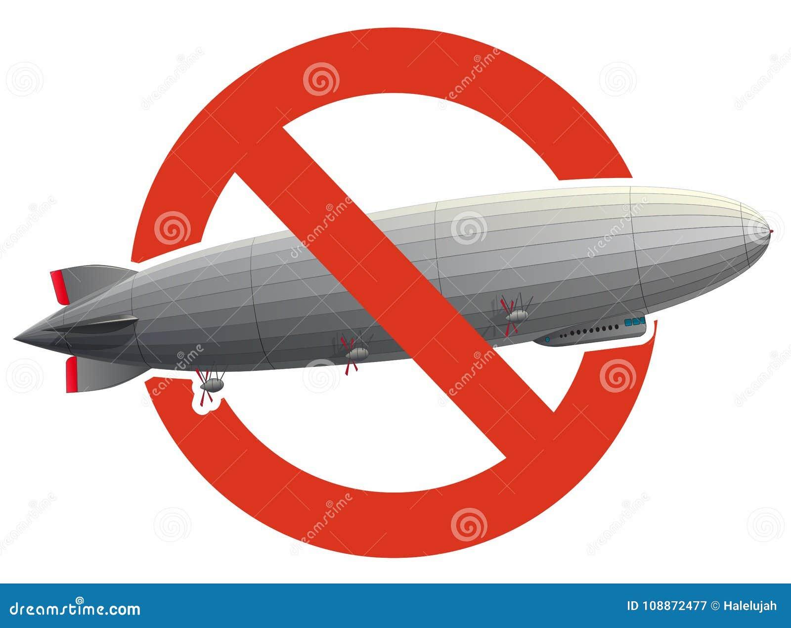 La proibizione del dirigibile enorme dello zeppelin ha riempito di idrogeno Divieto rigoroso di costruzione del pallone di volo