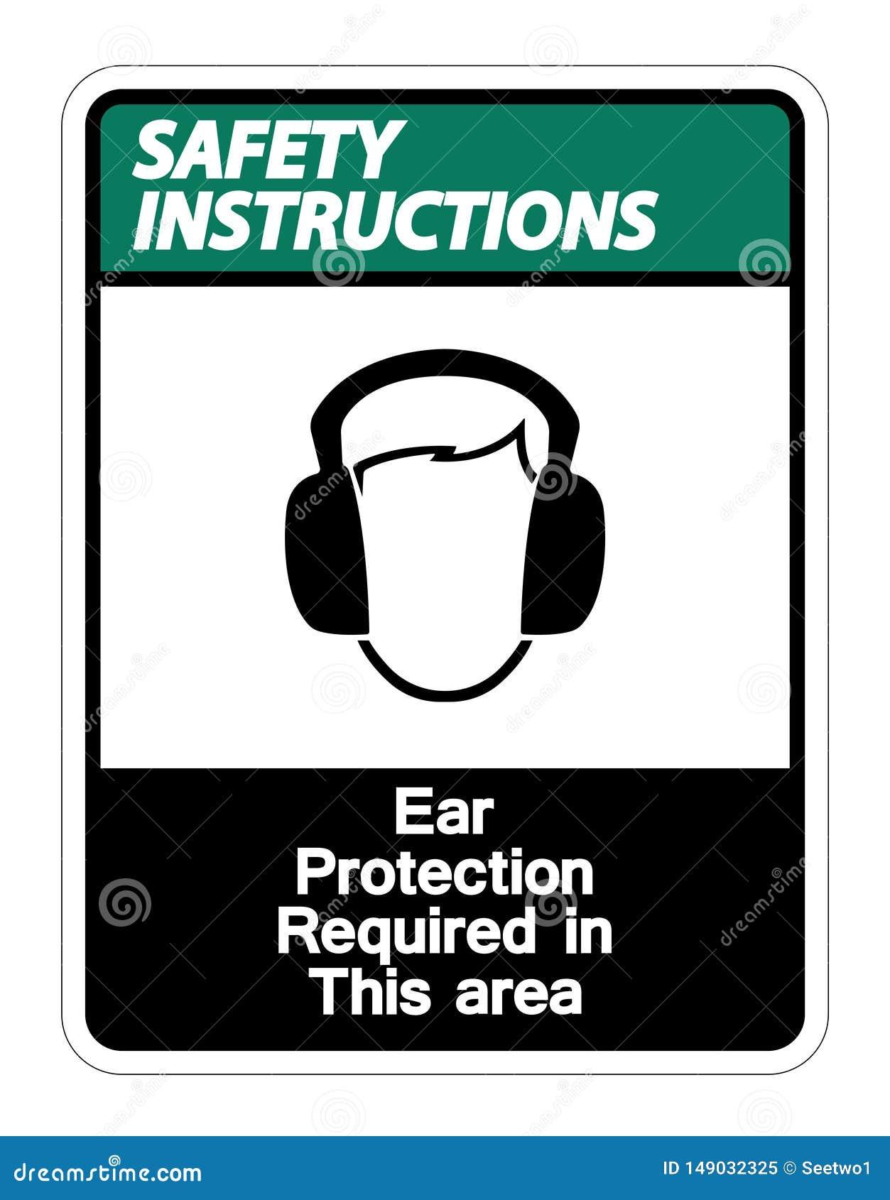 La protection auditive d instructions de s?curit? exig?e dans ce symbole de secteur se connectent le fond blanc, illustration de