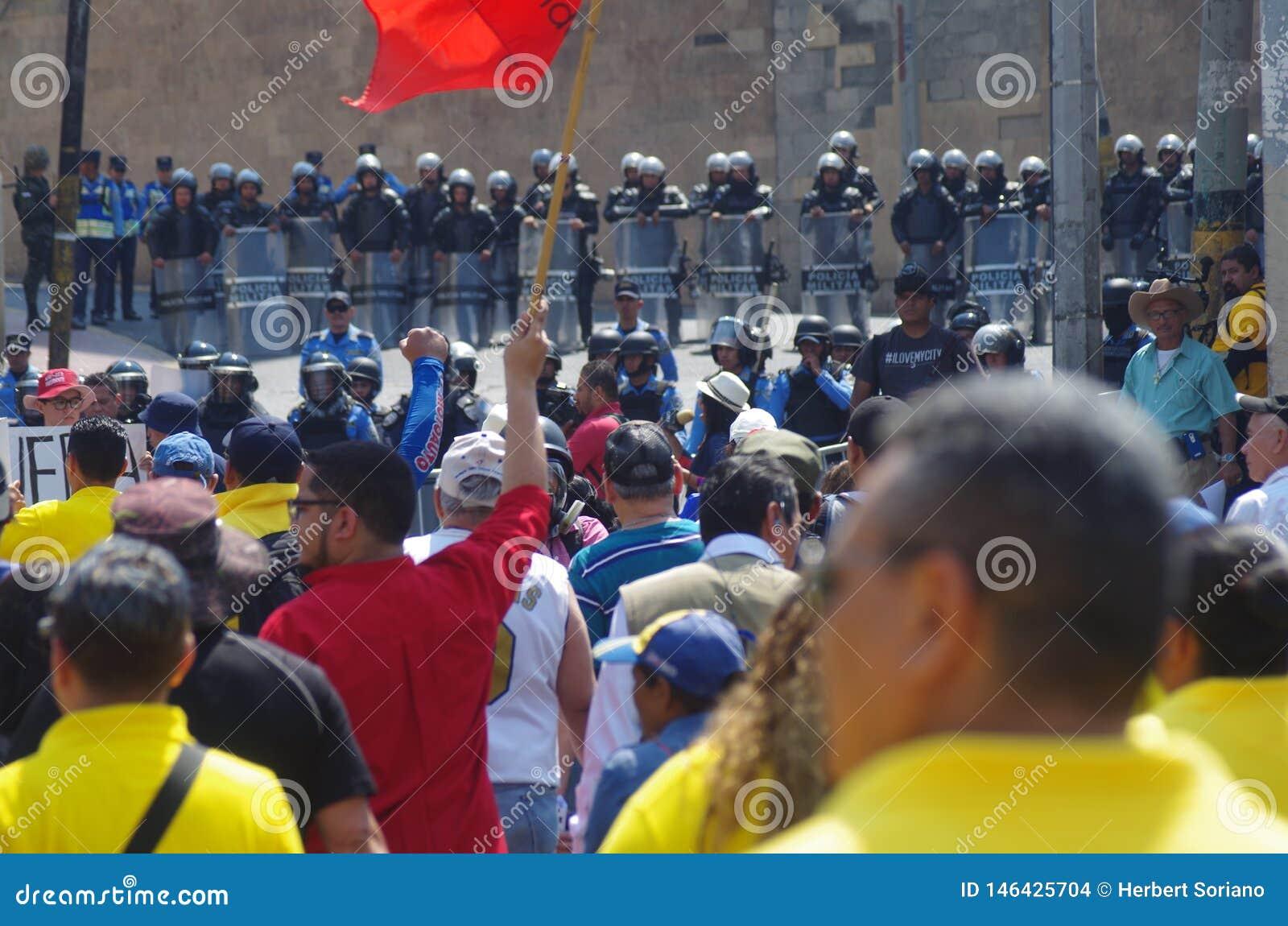 La protestation de jour de travail march Tegucigalpa le Honduras en mai 2019 2