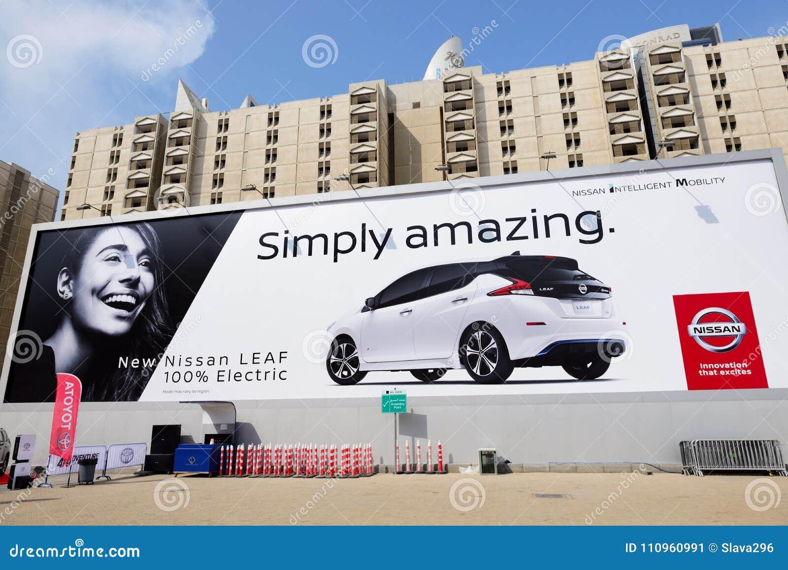 la publicit de panneau d 39 affichage de toute la voiture lectrique de nouvelle feuille de nissan. Black Bedroom Furniture Sets. Home Design Ideas