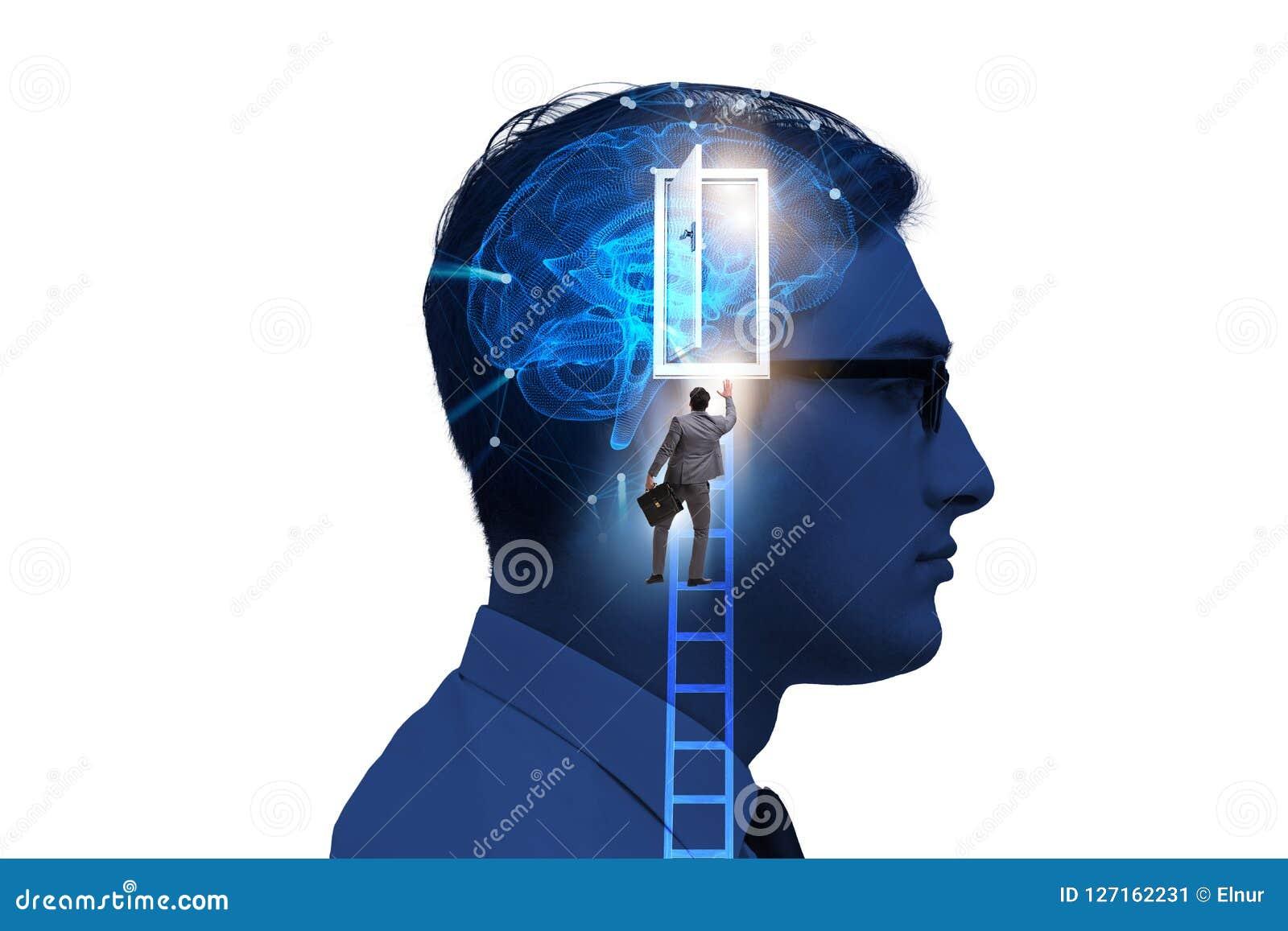 La puerta de abertura del hombre de negocios a la inteligencia artificial