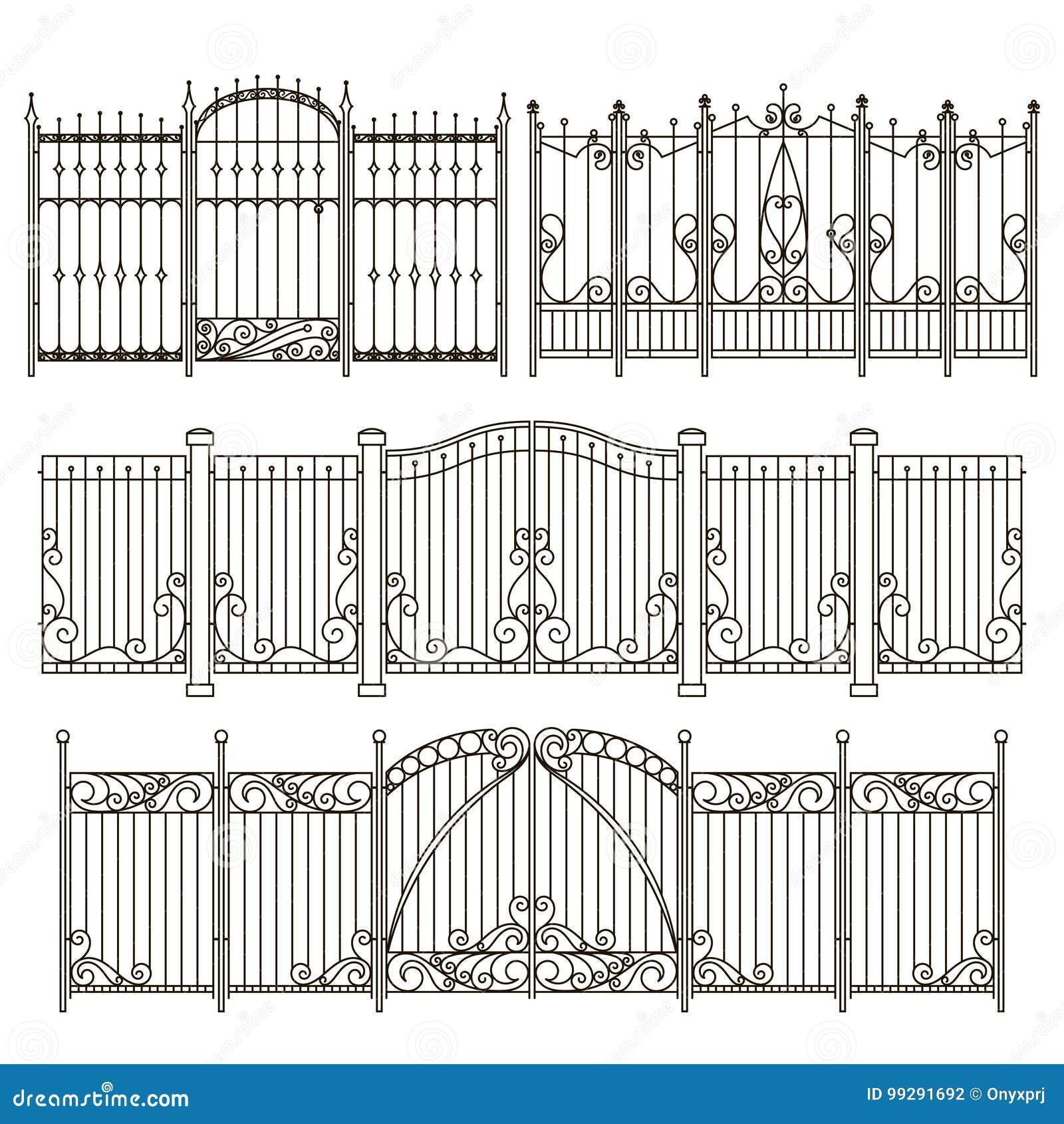 La puerta y la cerca del hierro diseñan con diversos elementos decorativos Graphhics del vector