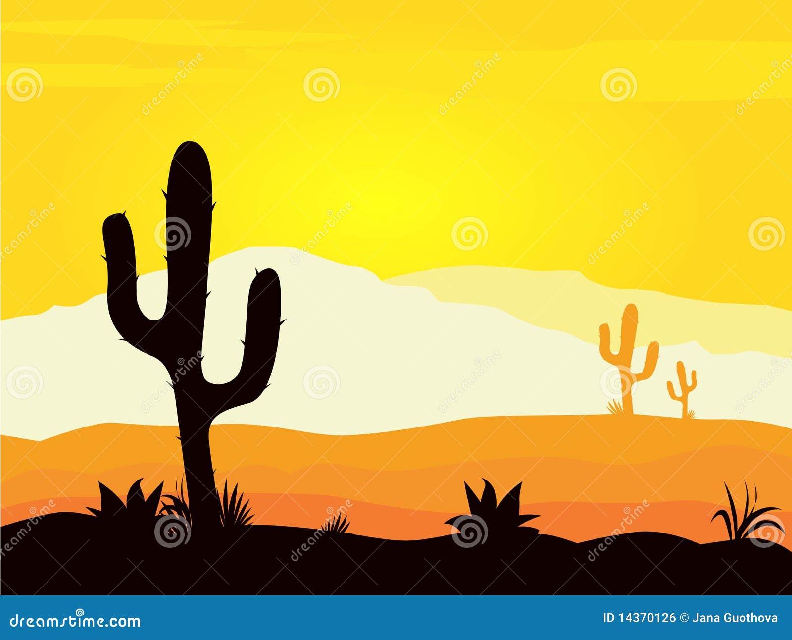 La puesta del sol del desierto de México con el cacto planta la silueta