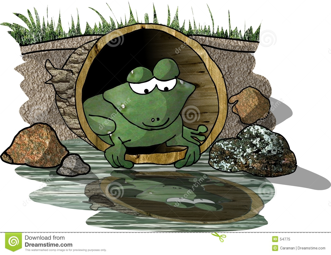 Download La Réflexion D'une Grenouille Illustration Stock - Illustration du drôle, cartoon: 54775
