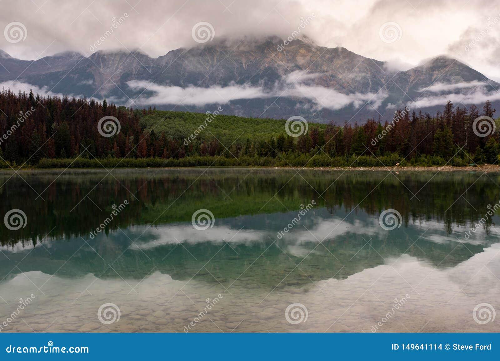 La réflexion de la gamme de forêt et de montagne en regardant à travers le lac pyramid en Jasper National Park, Alberta, Canada,