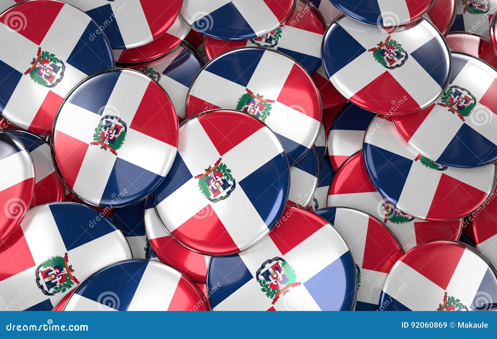 La République Dominicaine Badges le fond - pile de Dominicain Republ