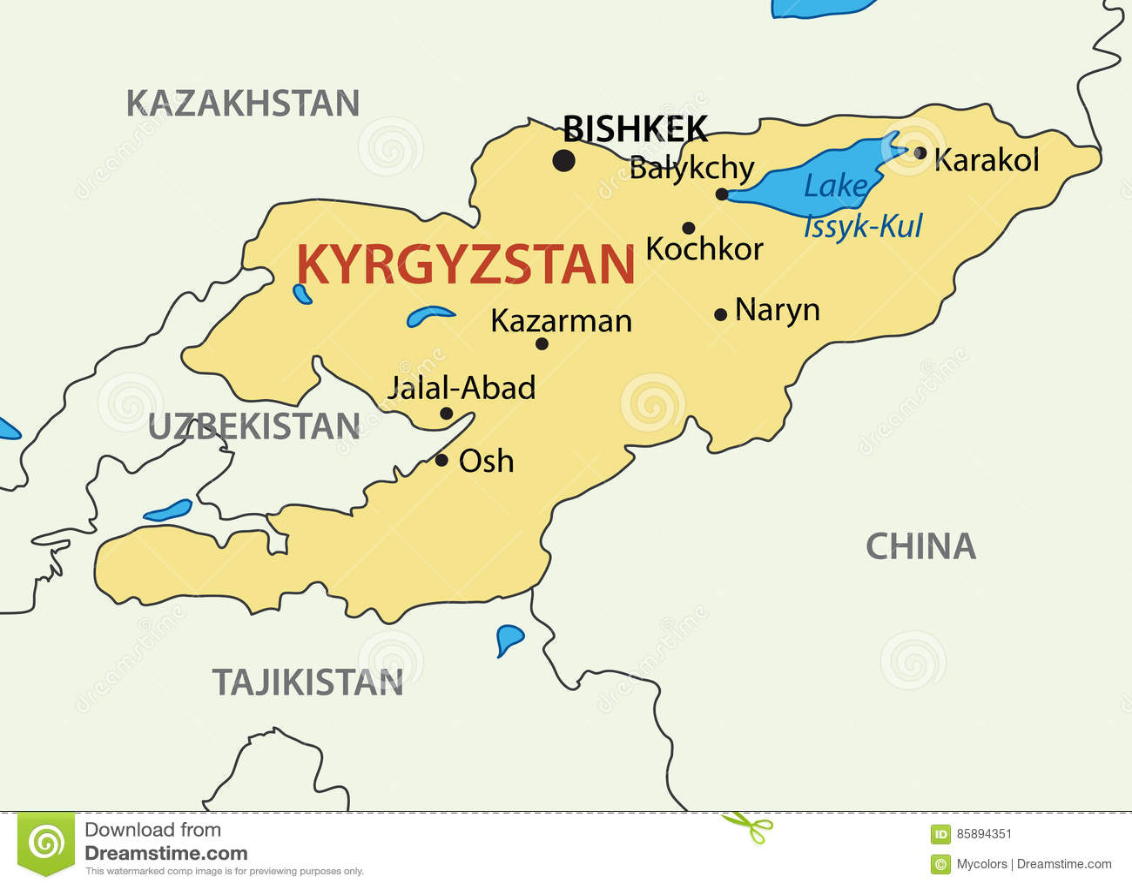 La République Du Kyrgyzstan - Le Kirghizistan - Carte De Vecteur  Illustration de Vecteur - Illustration du géographique, vecteur: 85894351