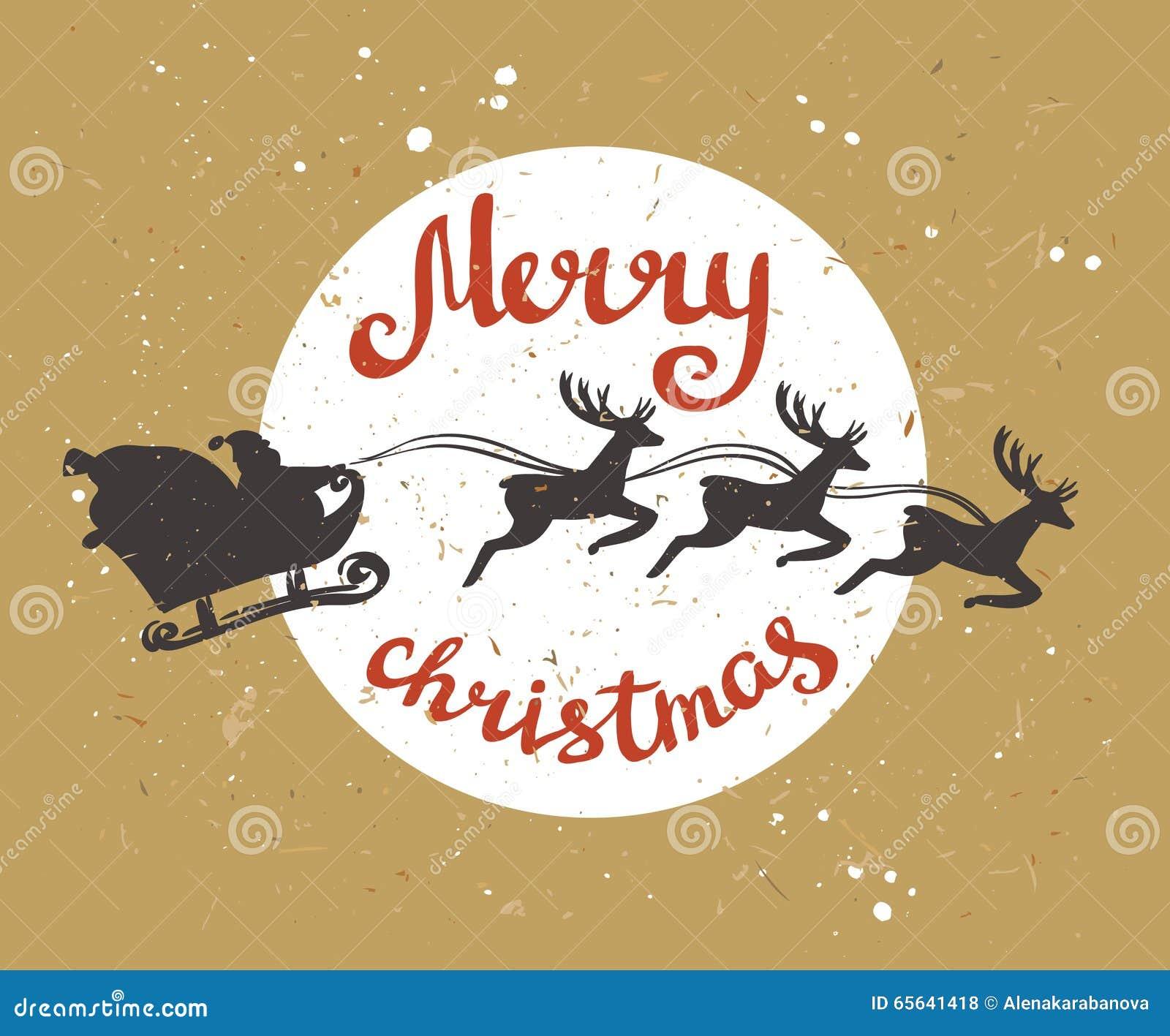 La rétro carte de Joyeux Noël avec Santa Claus monte dans un traîneau dans le harnais sur les rennes