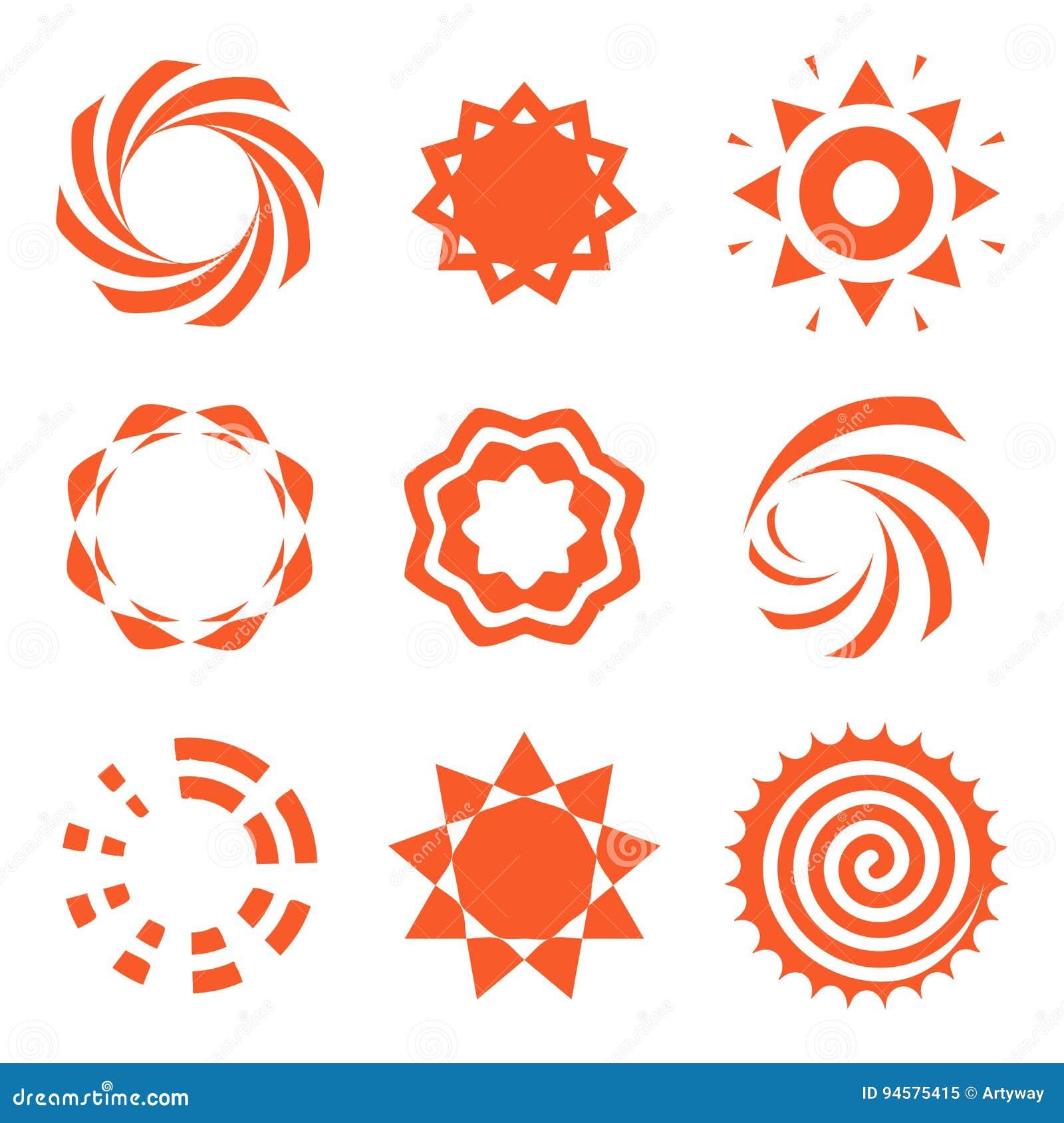 La raccolta arancio astratta isolata di logo di colore di forma rotonda, insieme del logotype del sole, cerchi geometrici vector