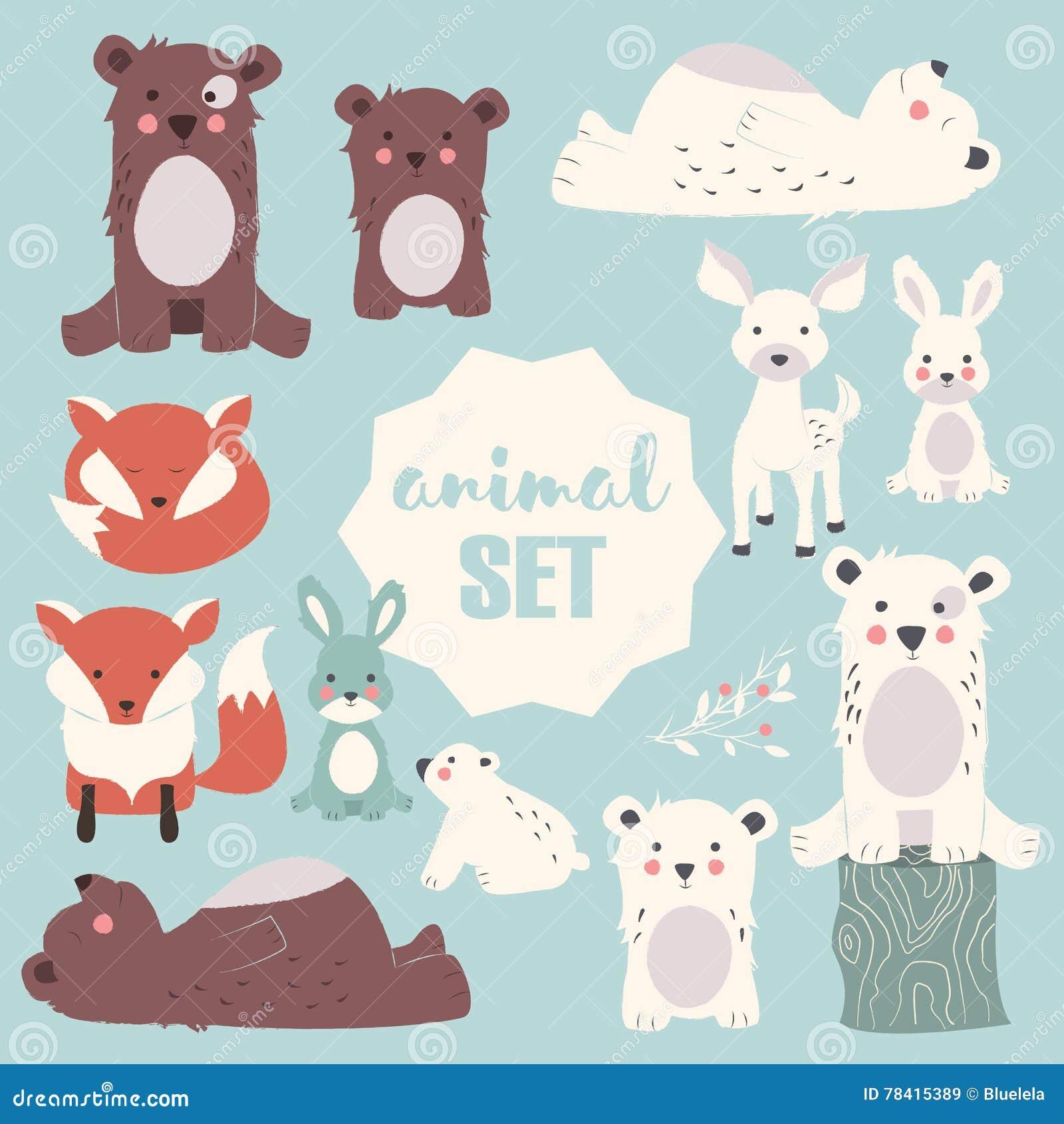 La raccolta della foresta sveglia e degli animali polari con il bambino figlia, compreso l orso, la volpe, il fawn ed il coniglio