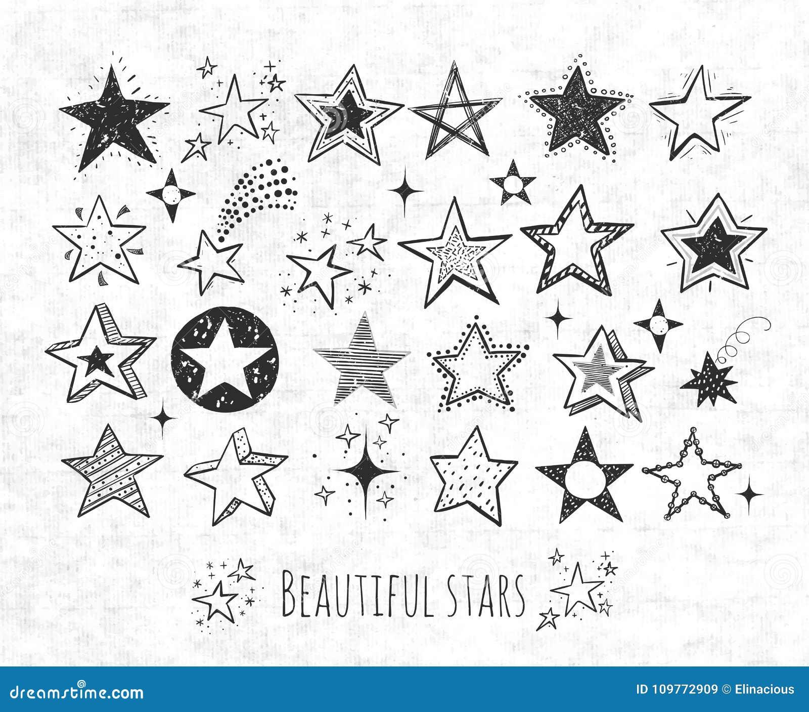La raccolta dello scarabocchio di lerciume stars sul fondo della carta di riso Illustrazione di vettore