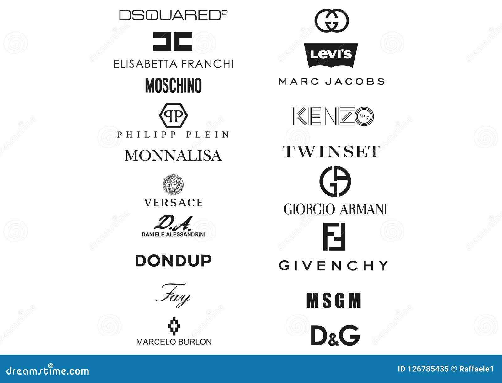 La raccolta di abbigliamento italiano alloggia il logos