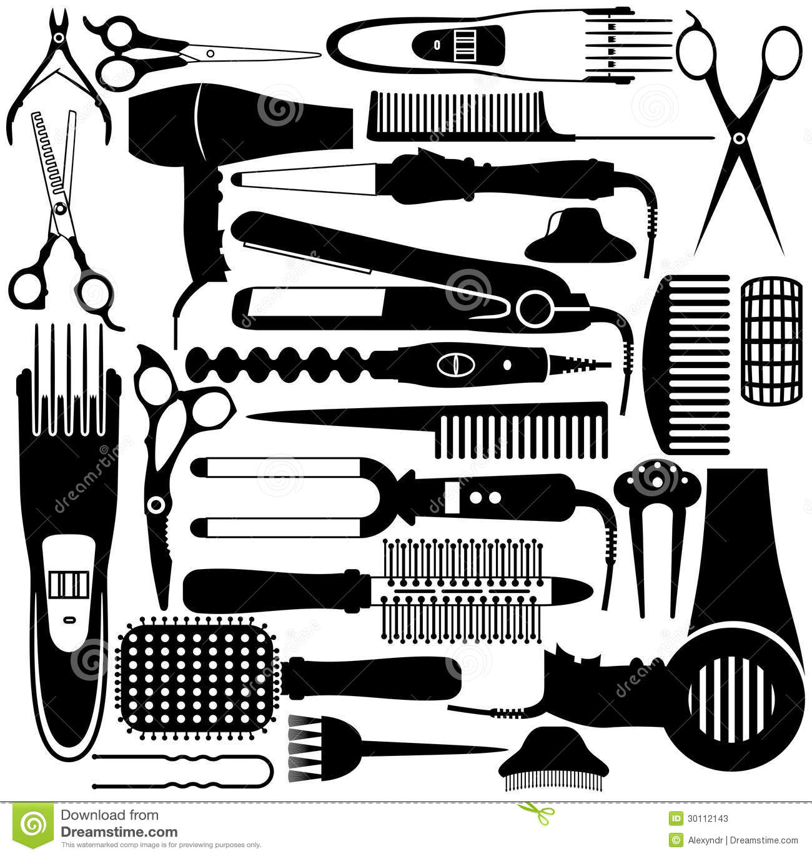 Simbolo relativo di lavoro di parrucchiere insieme di for Simbolo barbiere