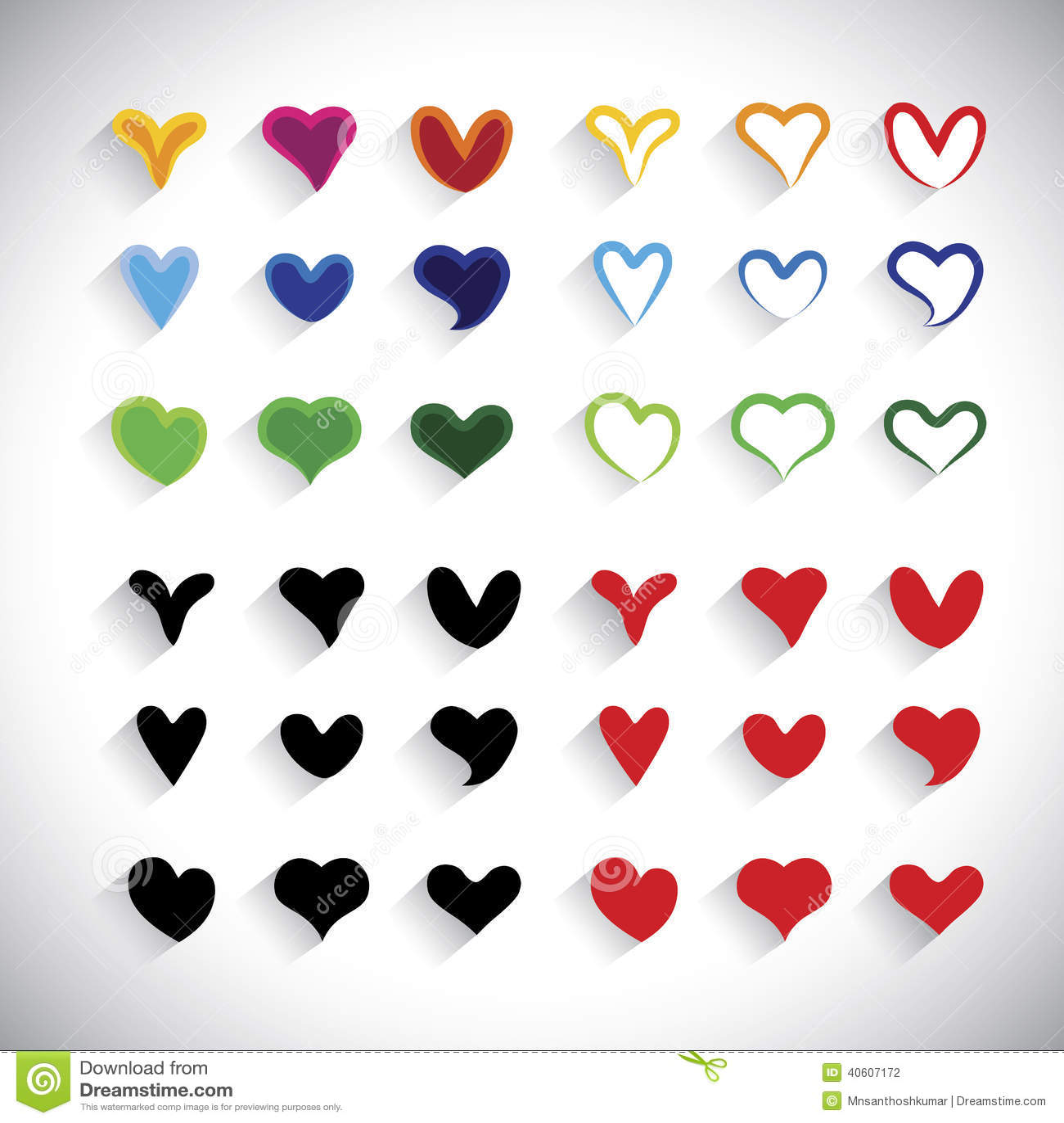 La raccolta variopinta delle icone del cuore di progettazione piana ha messo - il grafico di vettore