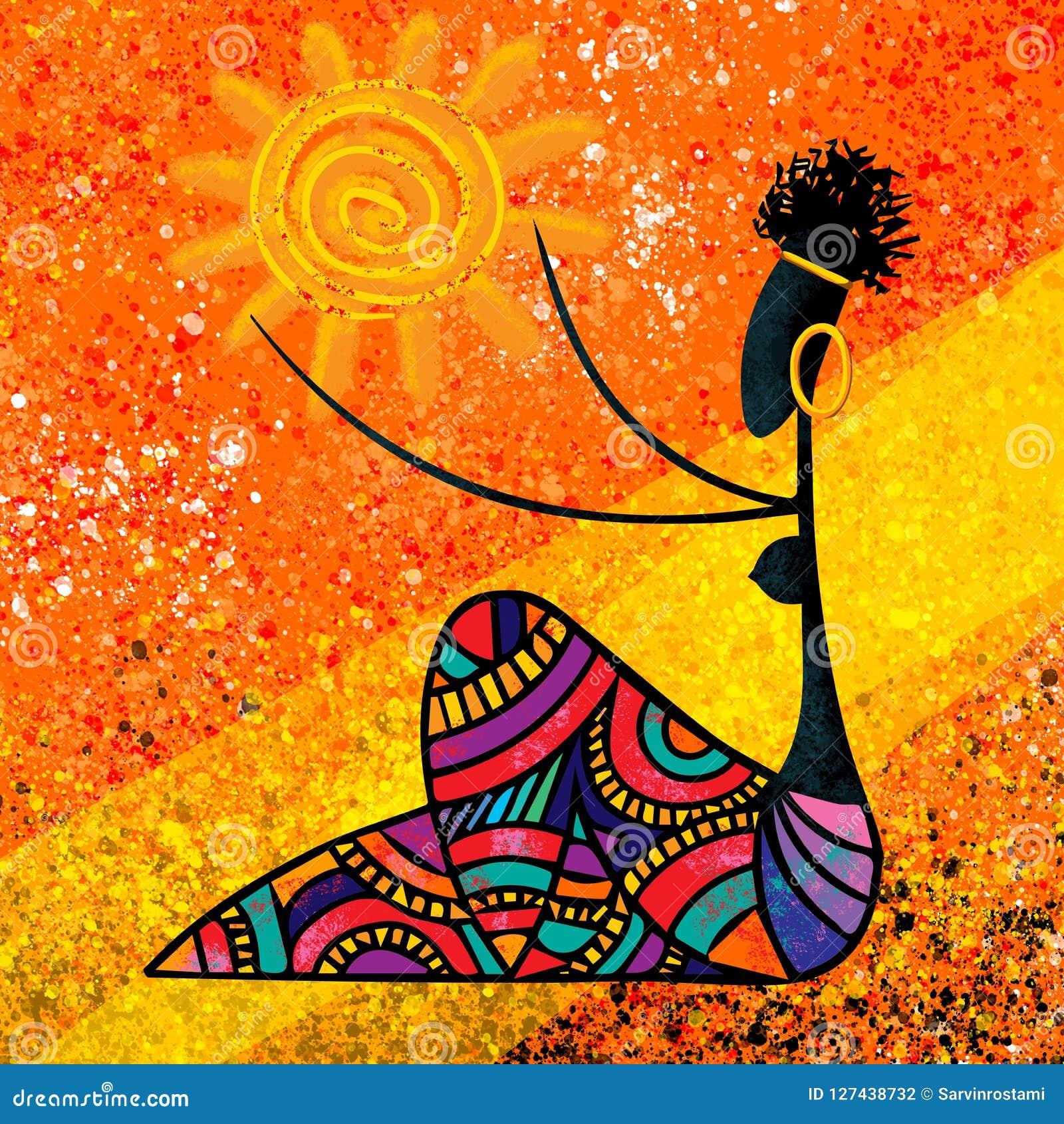 La ragazza africana giudica il materiale illustrativo digitale della tela di pittura del sole originale a colori i colori caldi
