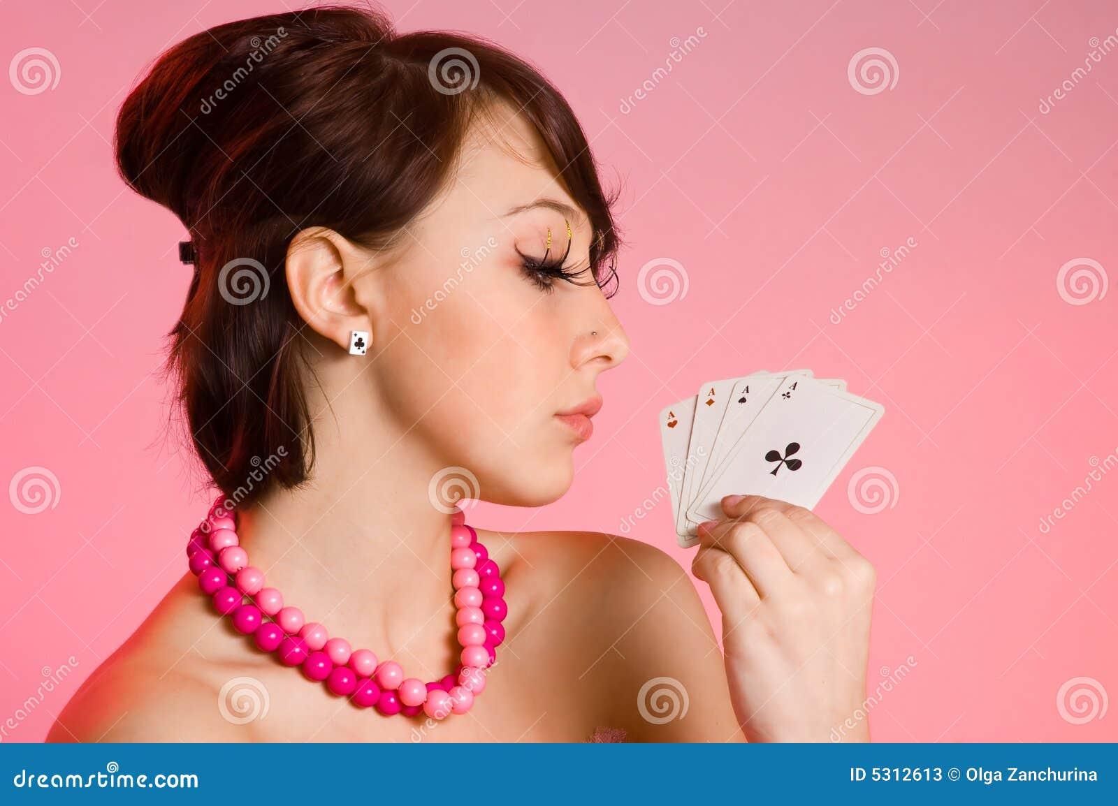 Download La ragazza con le schede immagine stock. Immagine di adulti - 5312613