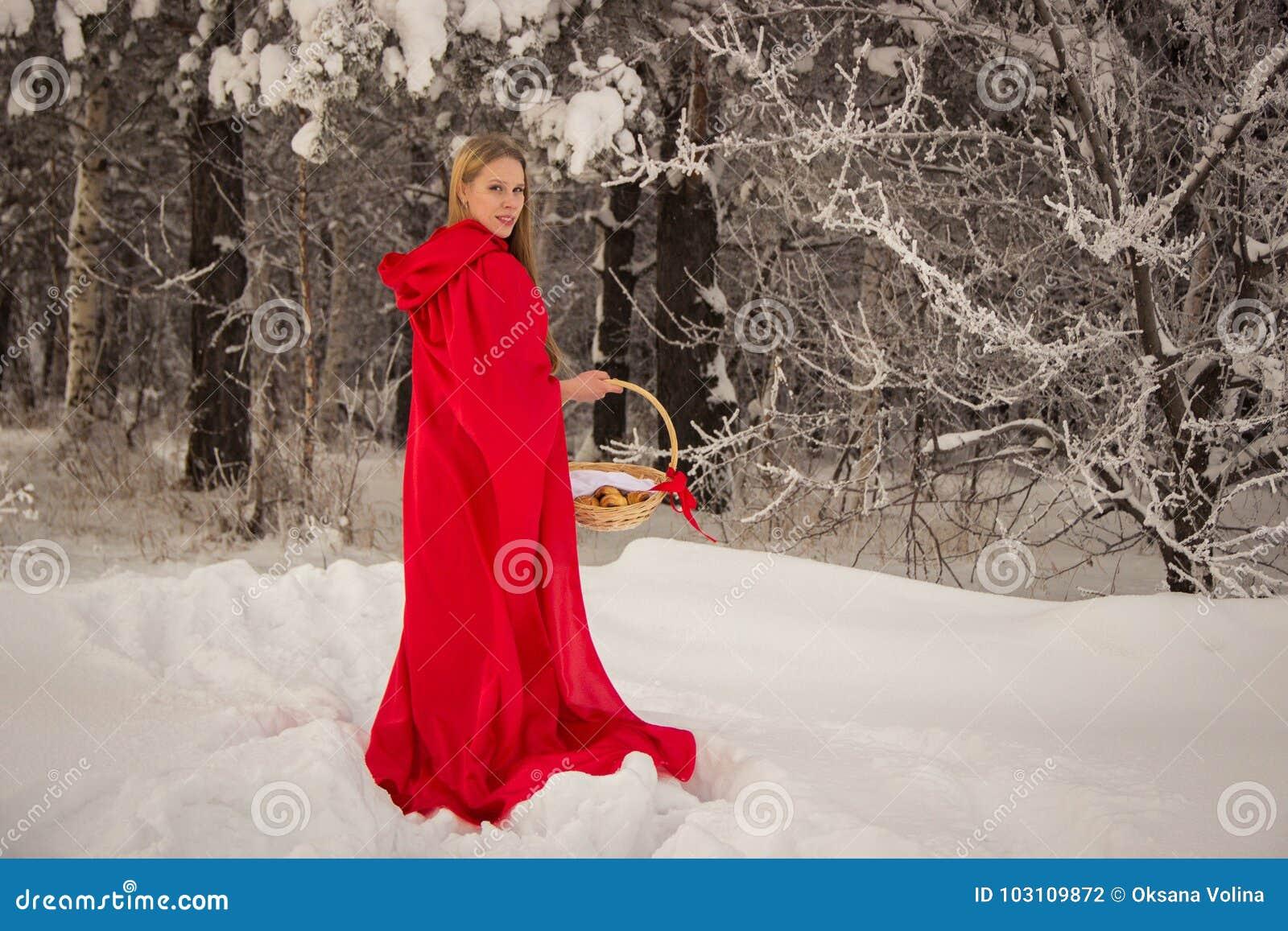 La ragazza in costume poco cappuccio di guida rosso con il cane gradisce un lupo