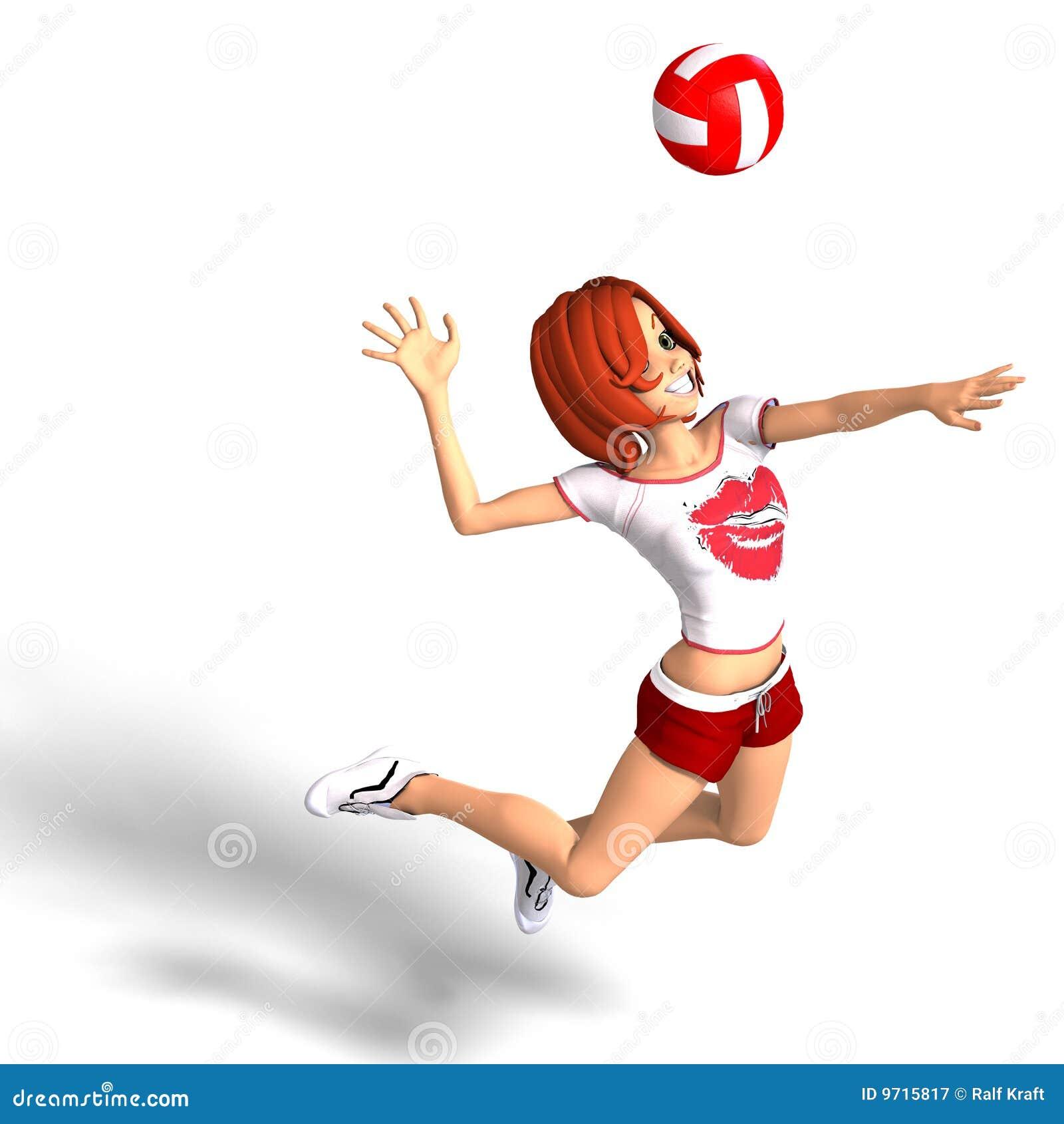 La ragazza di Toon gioca la pallavolo