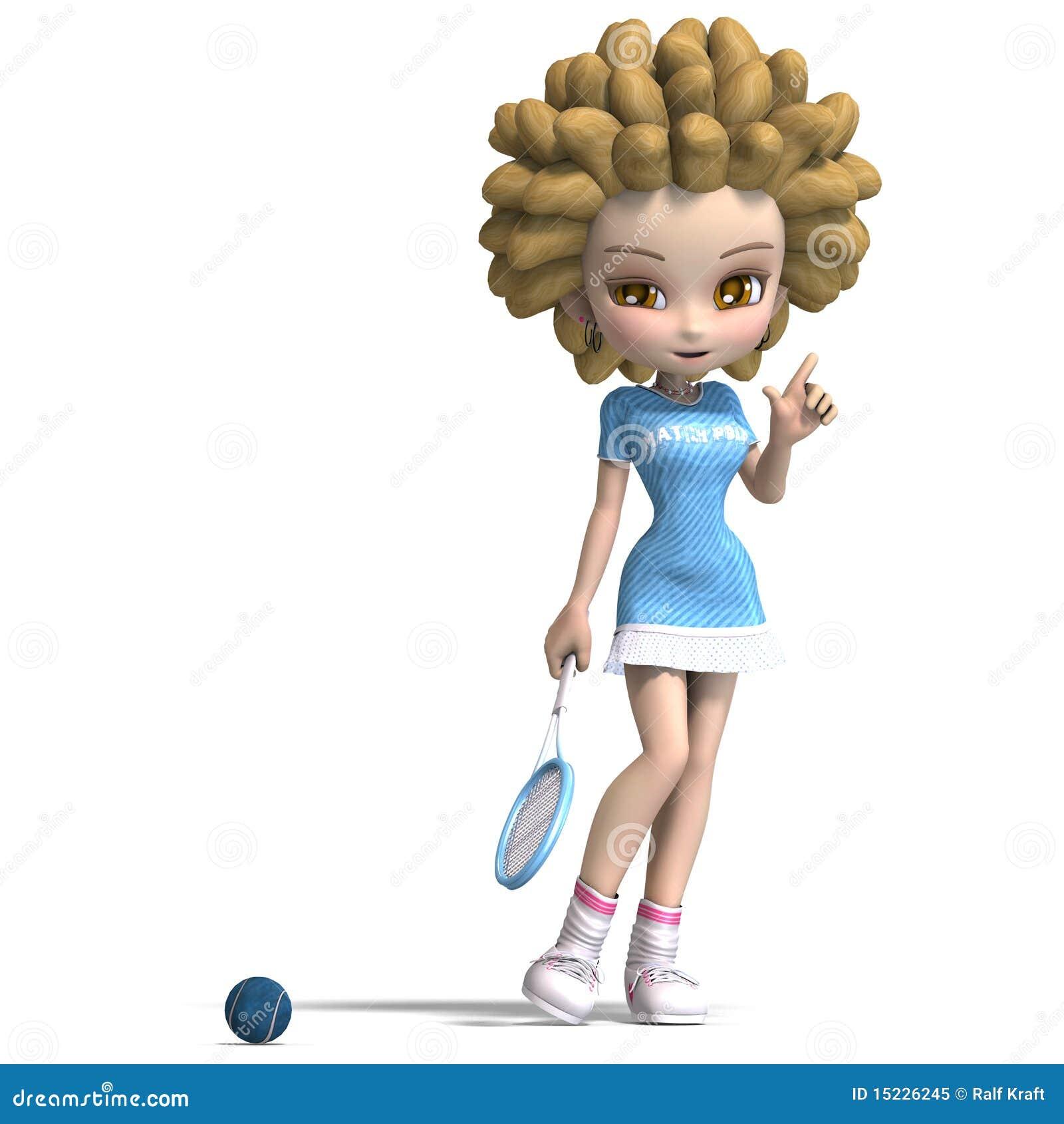 La ragazza divertente del fumetto con capelli ricci gioca