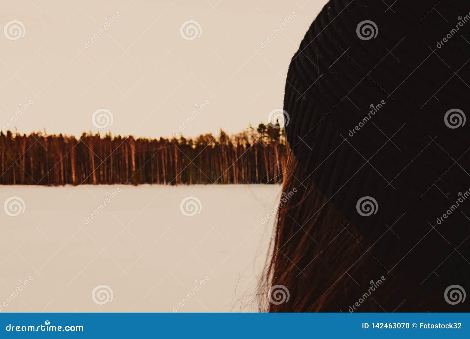 La ragazza esamina la foresta dell inverno sul lago