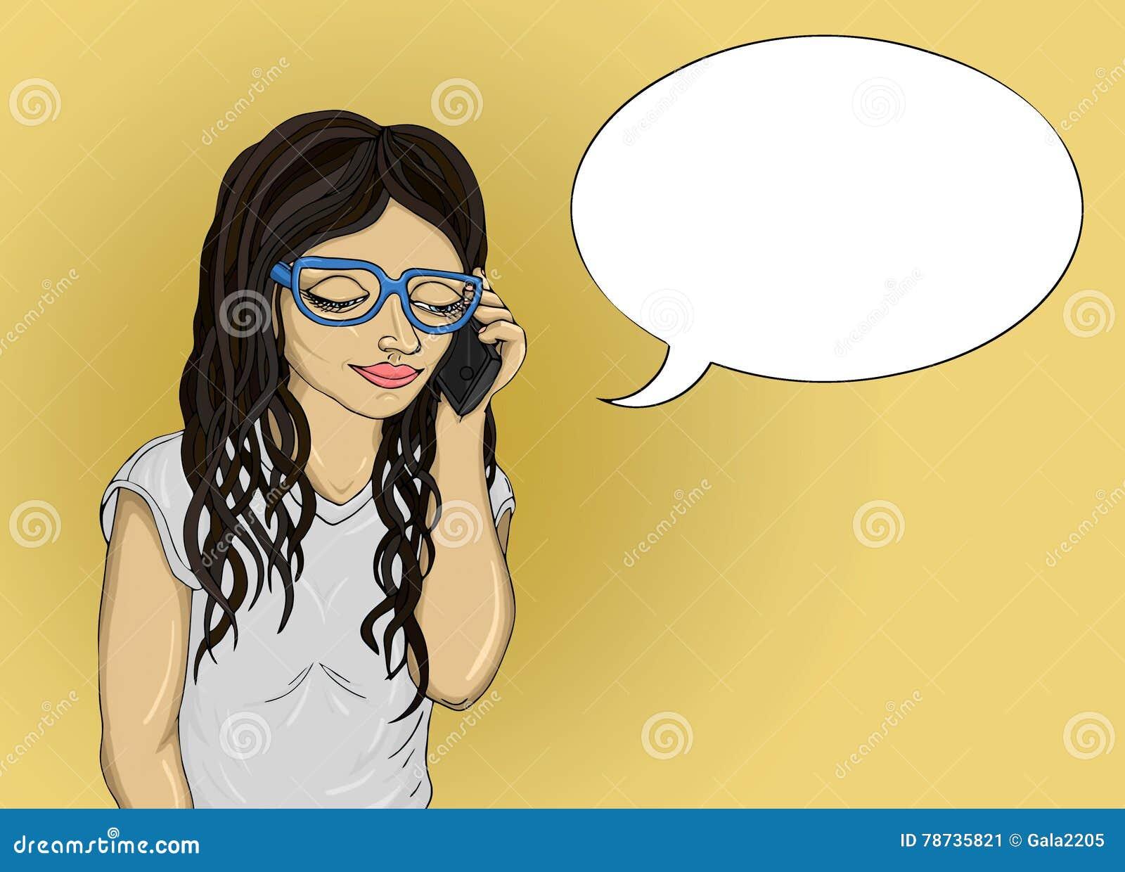 La ragazza parla il telefono cellulare e guardando giù Risposte della giovane donna