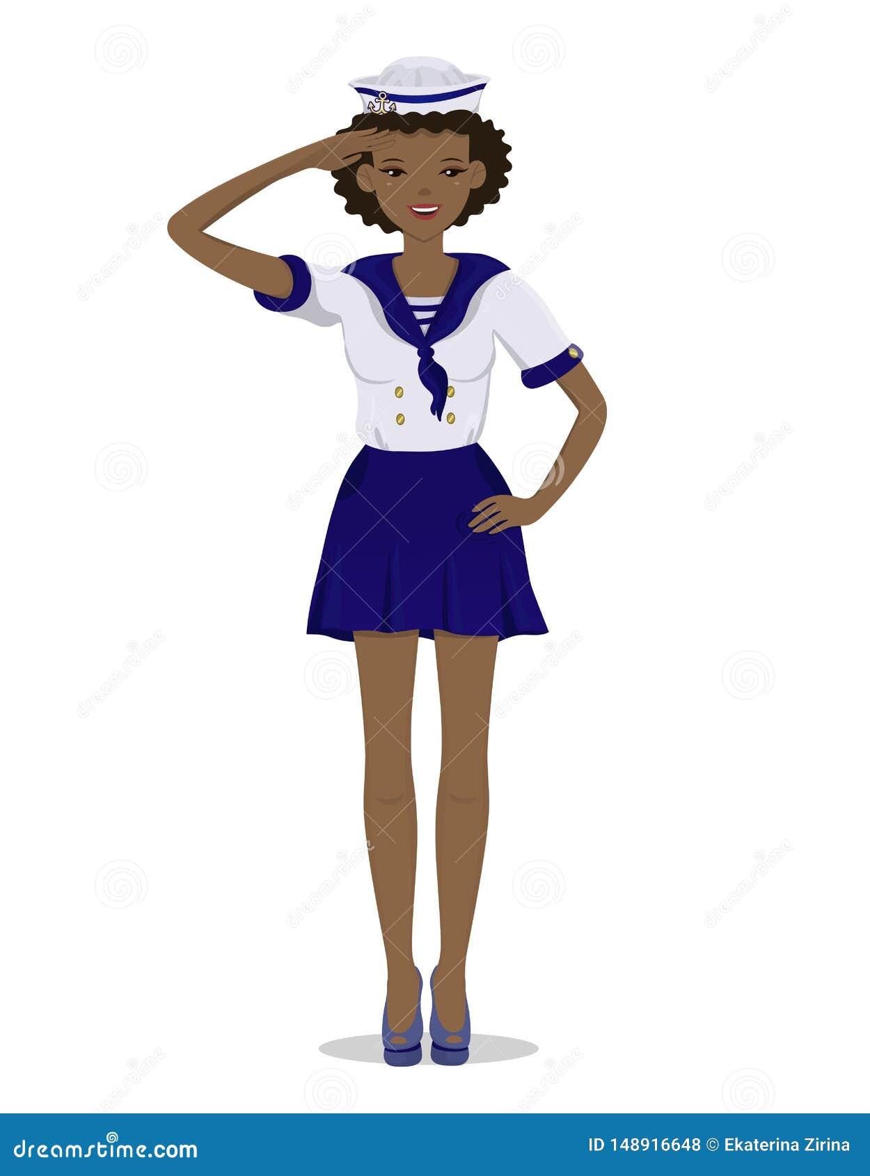 La ragazza pelata scura in un uniforme del marinaio nella piena crescita Immagine di vettore isolata su fondo bianco