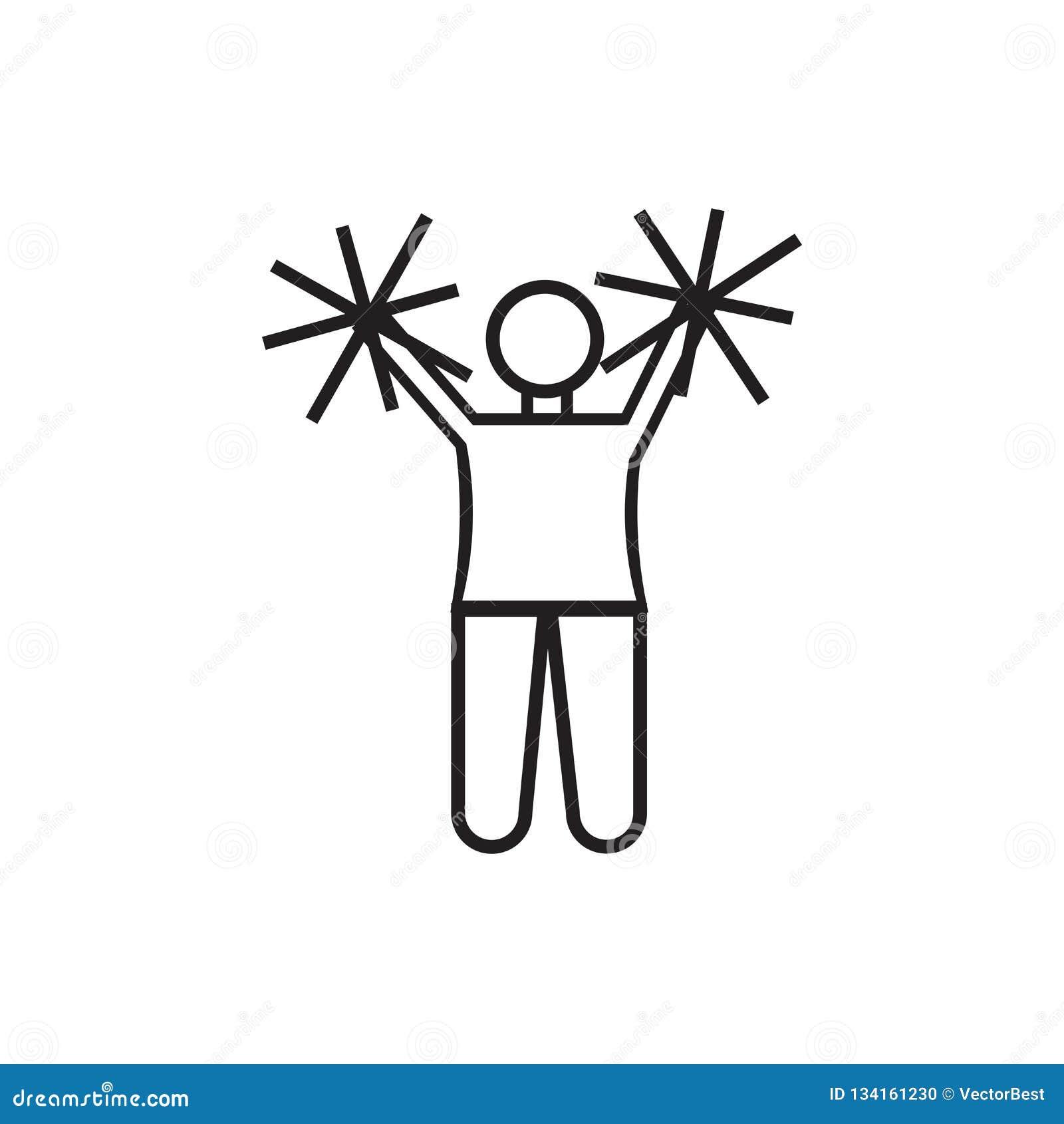 La ragazza pon pon di football americano salta il segno ed il simbolo di vettore dell icona isolata su fondo bianco, salto della