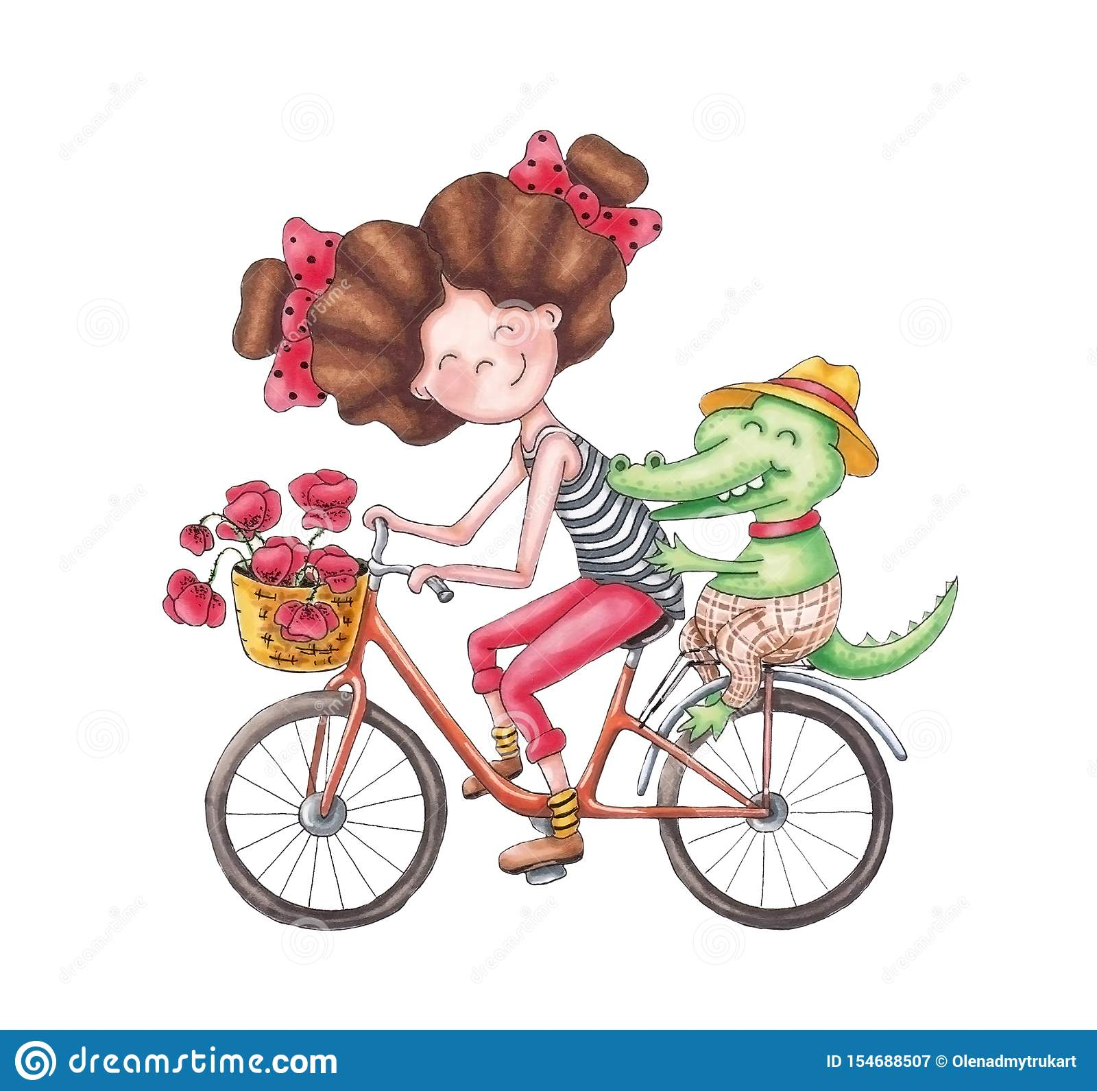 La ragazza porta un coccodrillo