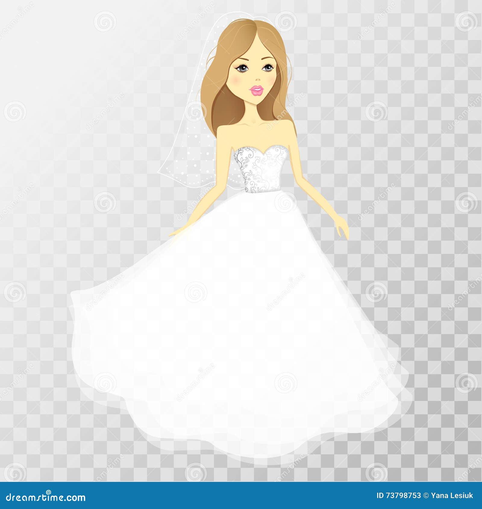 La ragazza in un vestito da sposa su un fondo trasparente Vettore