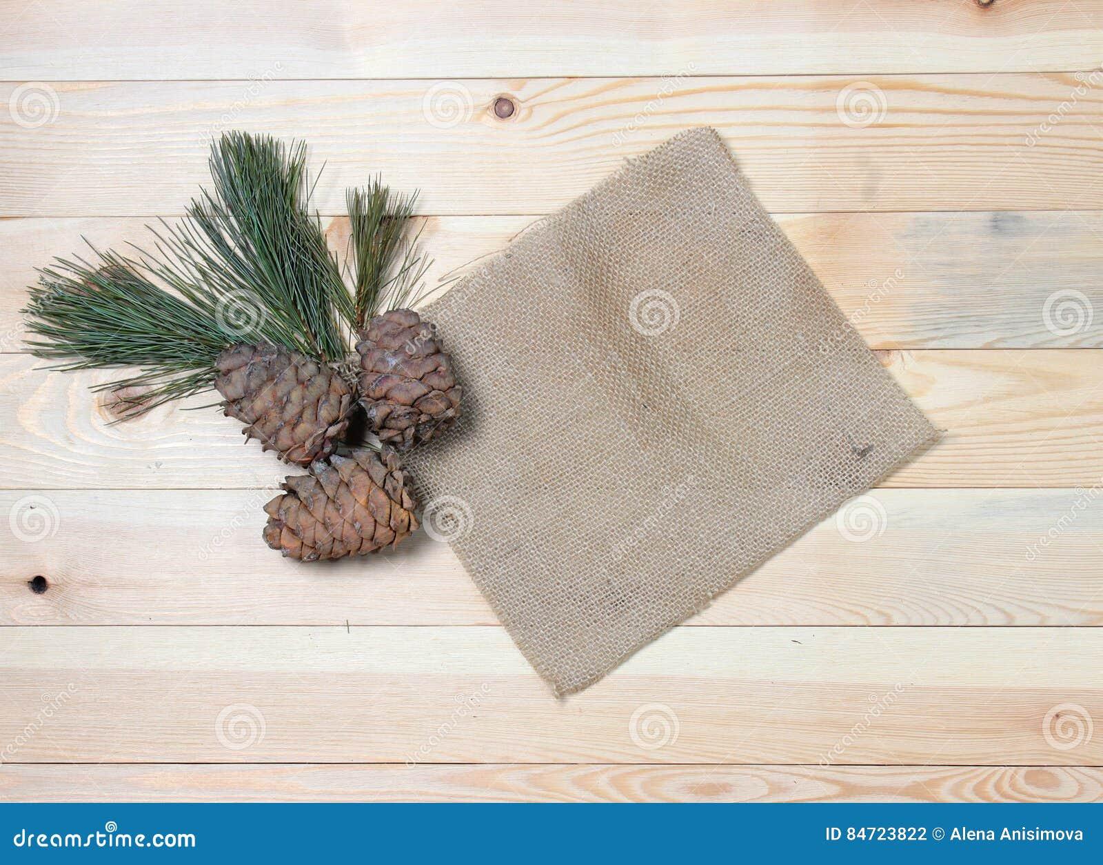 La rama del cedro con los conos en telas del vintage en una textura de madera