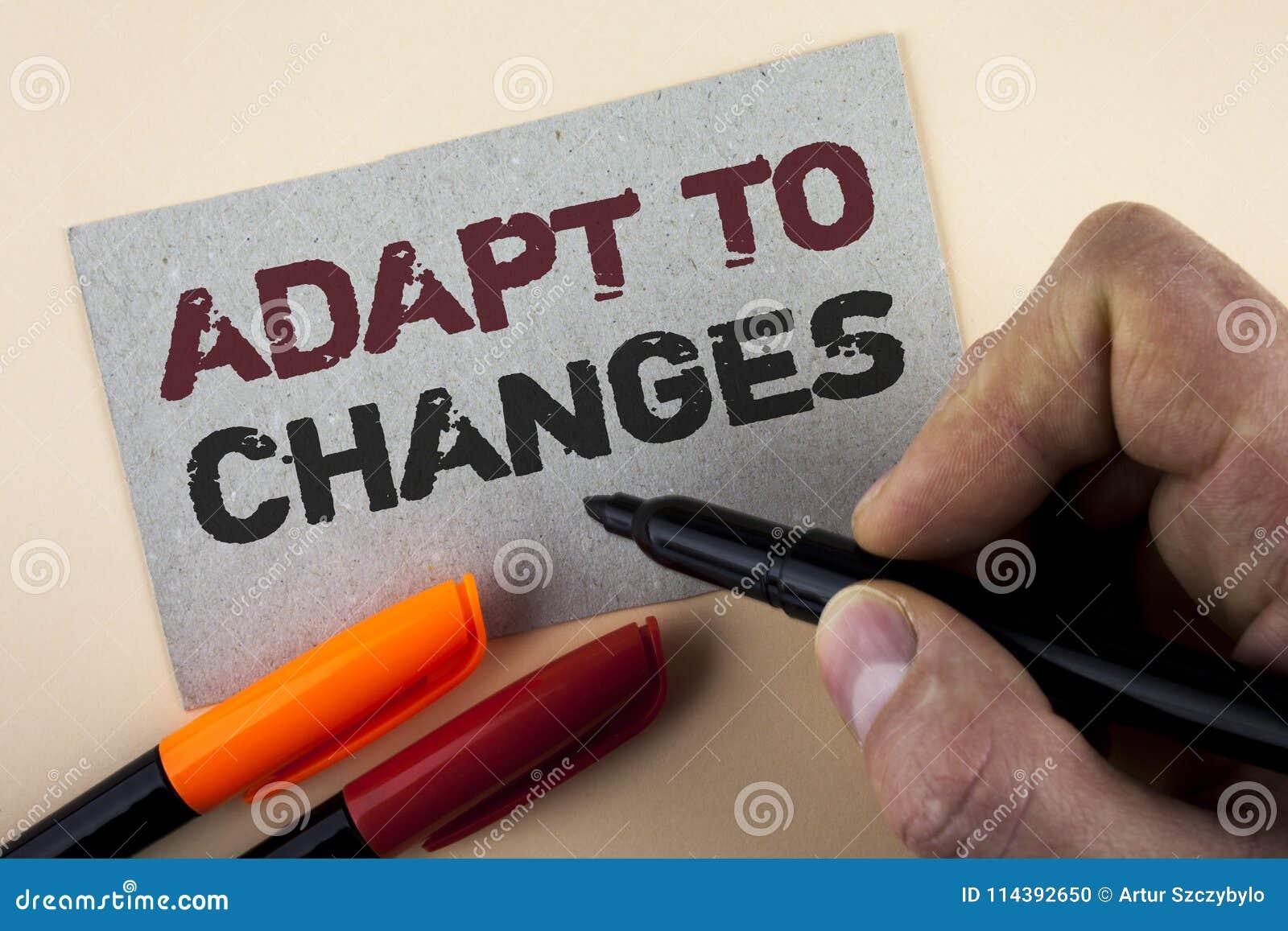 La rappresentazione concettuale di scrittura della mano si adatta ai cambiamenti Adattamento innovatore dei cambiamenti del testo