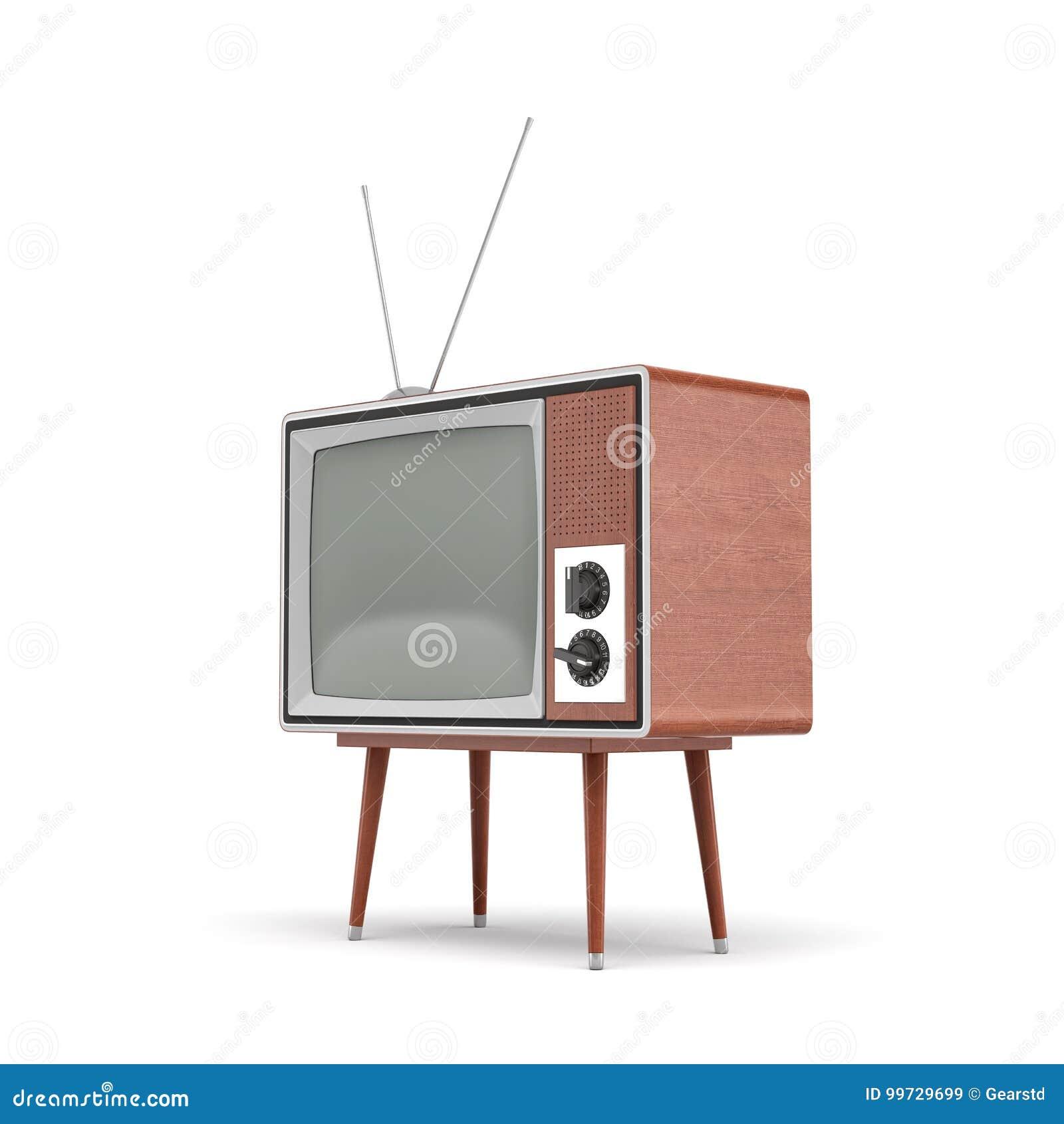 La rappresentazione 3d di un set televisivo retro in bianco con un antenna sta su una tavola a quattro zampe bassa su fondo bianc