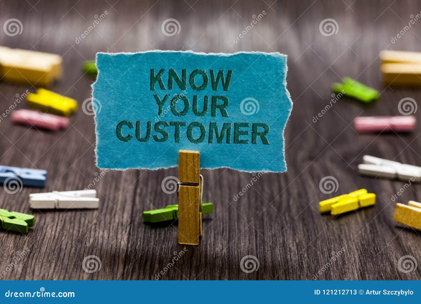 La rappresentazione del segno del testo conosce il vostro cliente La vendita concettuale della foto che crea uno scrutinio miglio