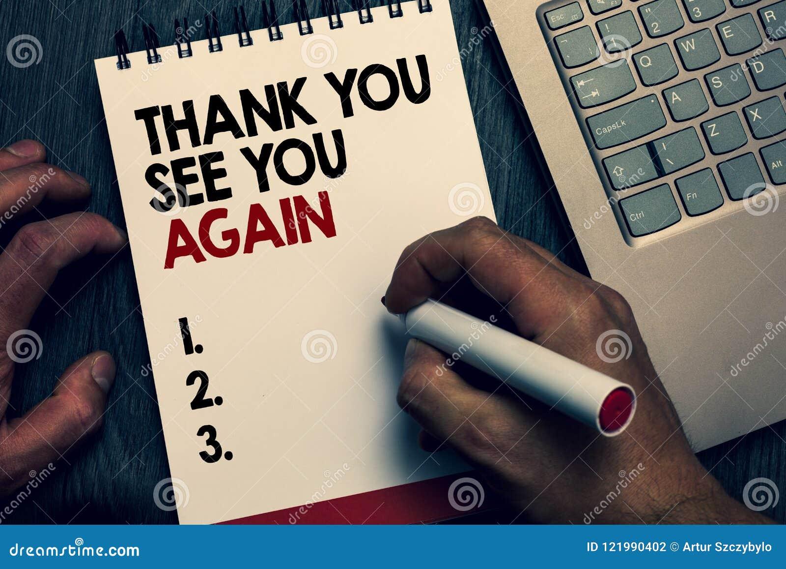 La rappresentazione del segno del testo vi ringrazia vi vede ancora Il ringraziamento concettuale di apprezzamento della foto mi