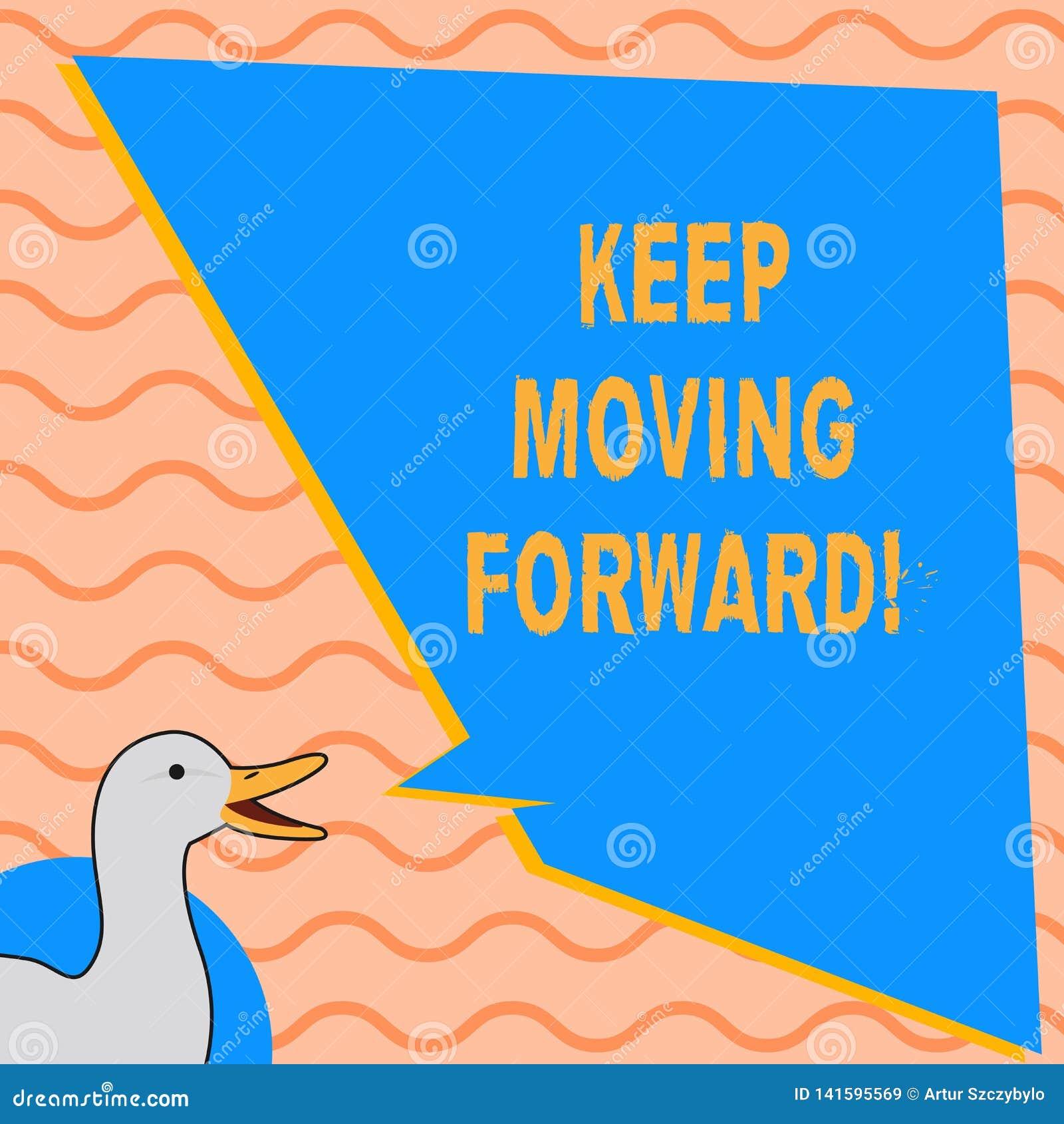 La rappresentazione della nota di scrittura continua muoversi in avanti La foto di affari che montra l incoraggiamento di carrier