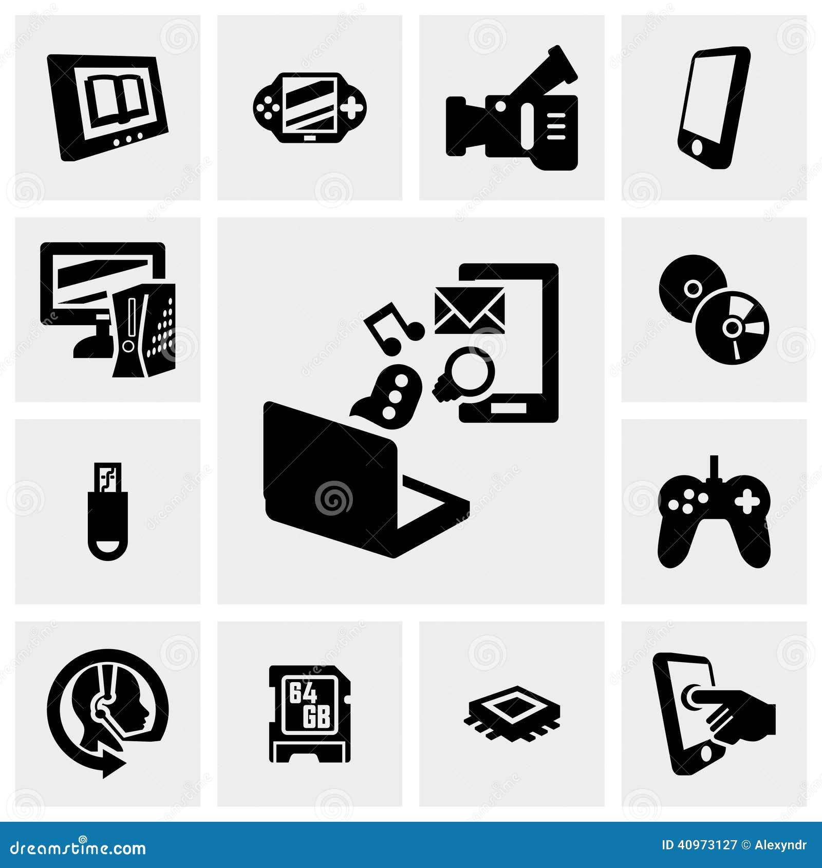 La red, iconos del vector de la tecnología fijó en gris
