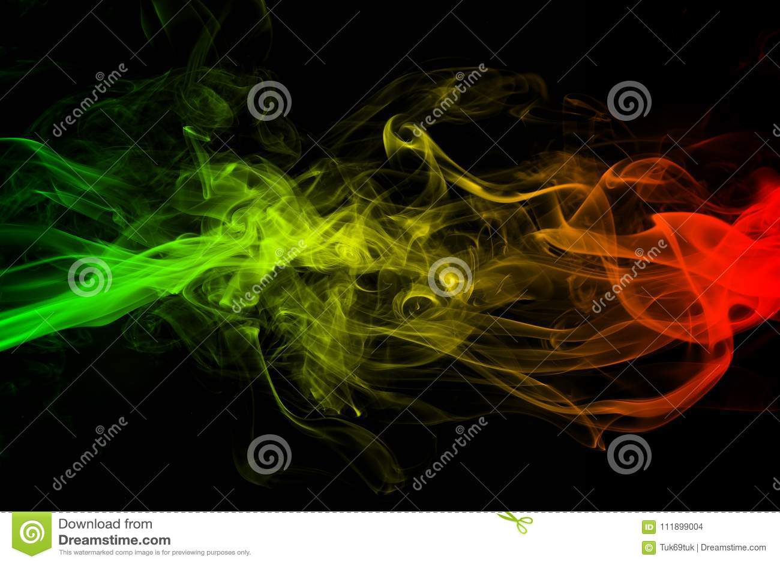 La reggae astratta delle curve e dell onda del fumo del fondo colora verde, giallo, rosso colorato in bandiera di musica di regga